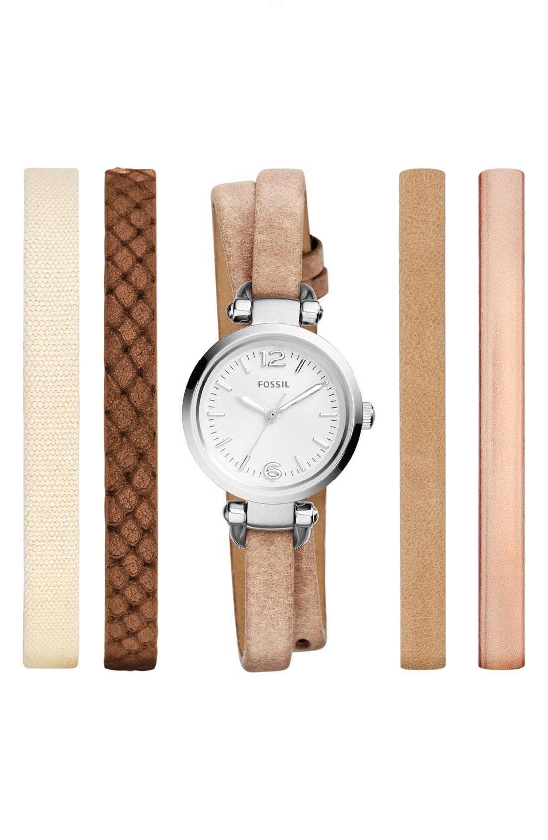 Alternate Image 1 Selected - Fossil 'Georgia' Round Watch & Interchangeable Strap Set, 26mm