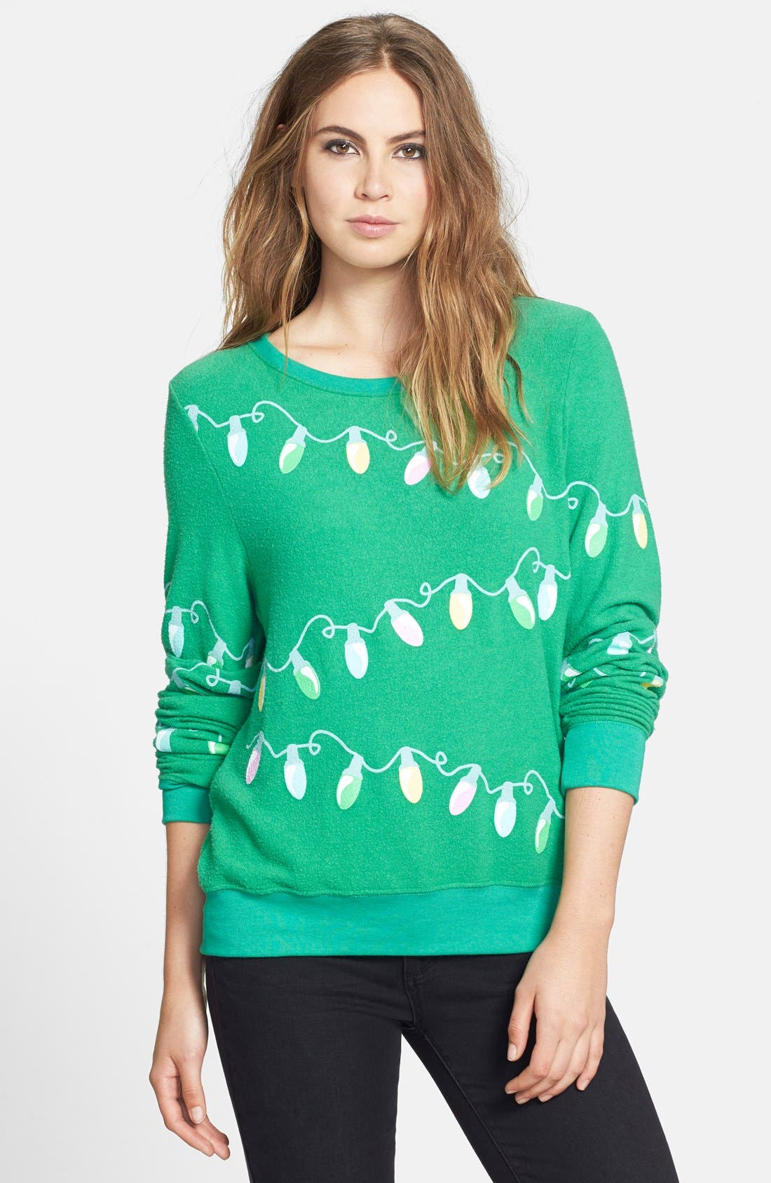 Main Image - Wildfox 'Glowing Lights' Sweatshirt