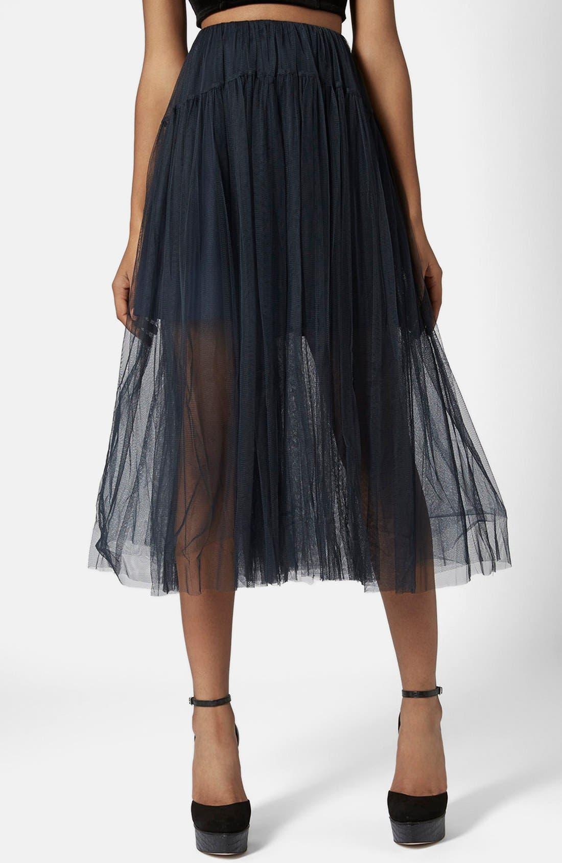 Main Image - Topshop Layered Mesh Skirt