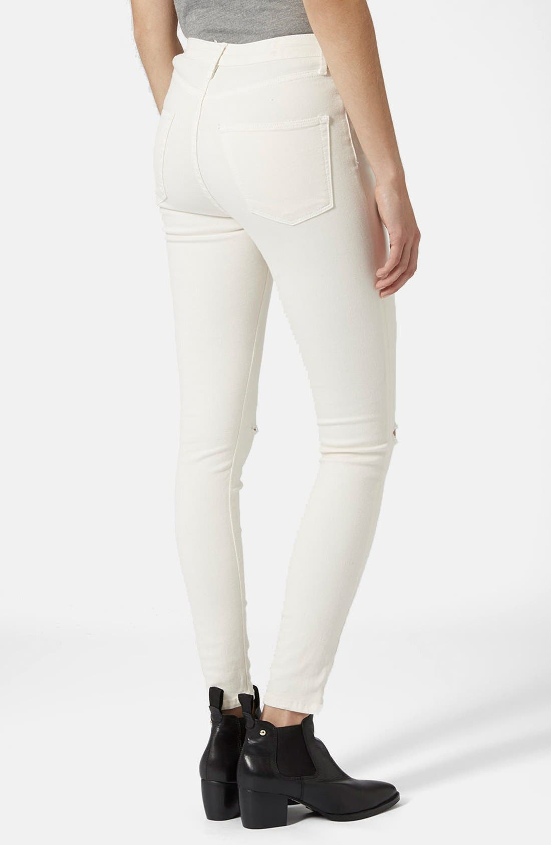 Alternate Image 2  - Topshop Moto 'Jamie' Ripped Jeans (White)
