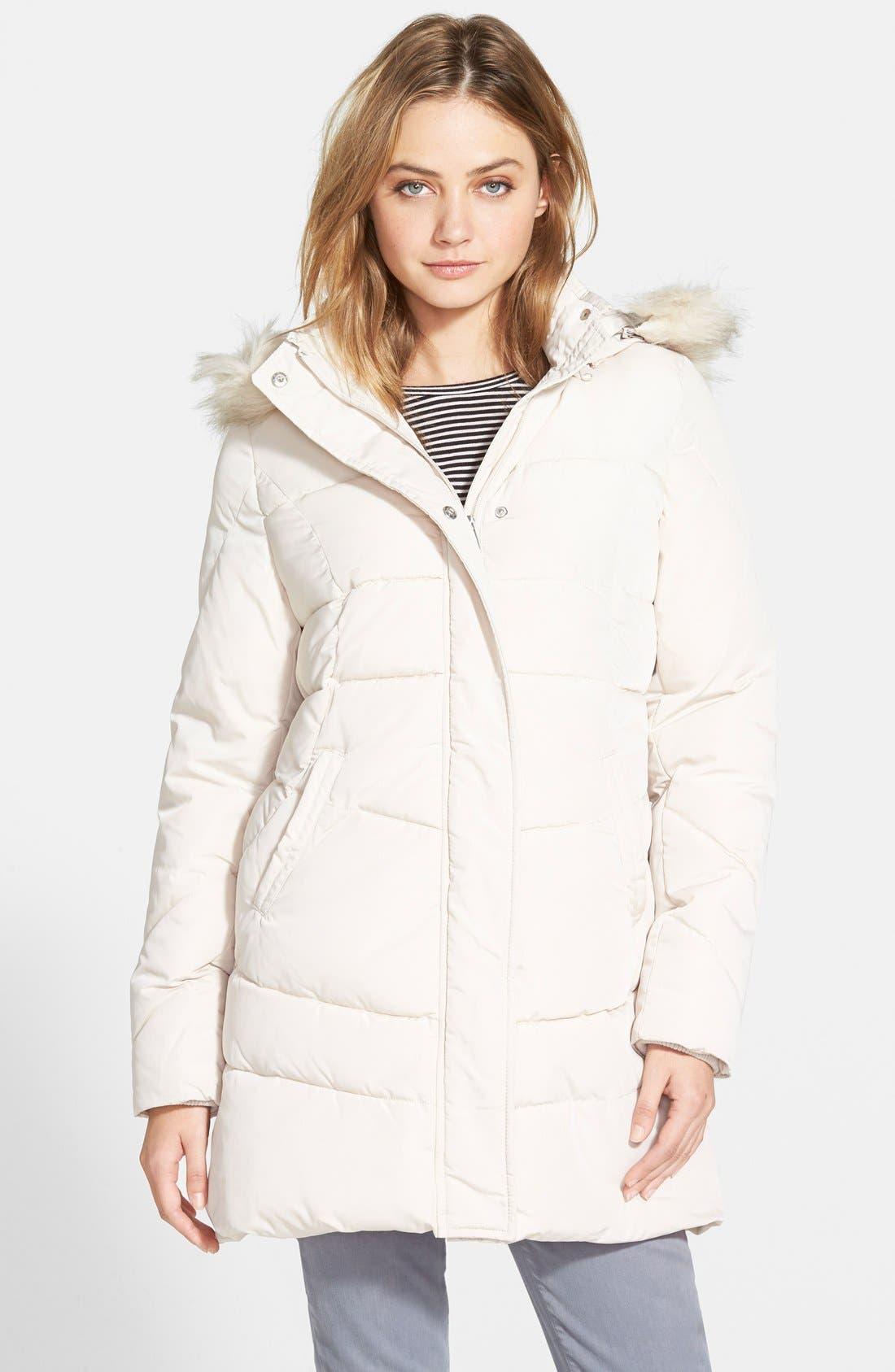 Alternate Image 1 Selected - Steve Madden Faux Fur Trim Hooded Quilted Coat