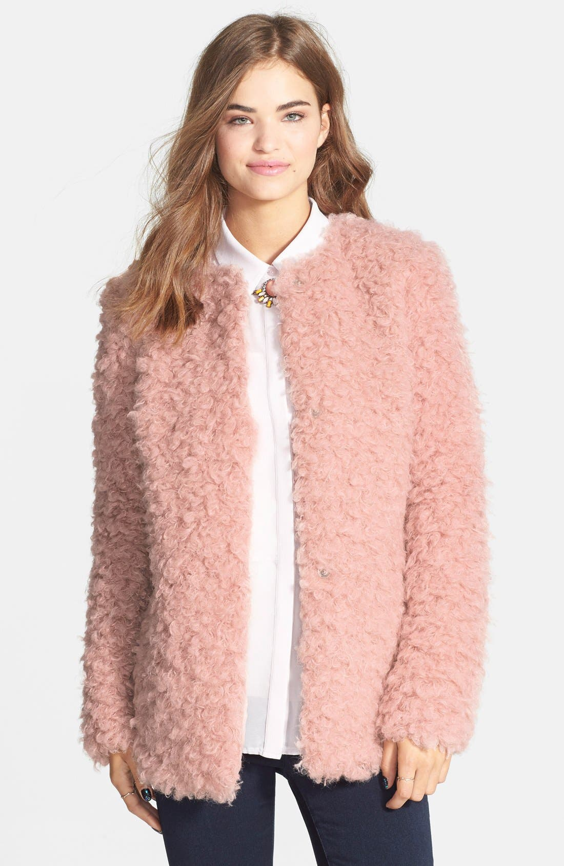 Alternate Image 1 Selected - Collection B 'Angel Hair' Faux Fur Jacket (Juniors)