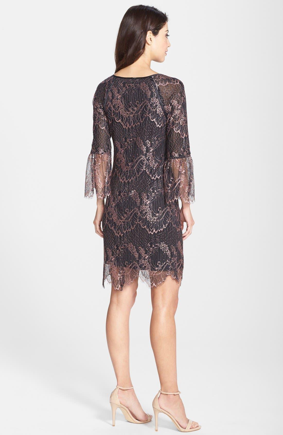 Alternate Image 2  - Adrianna Papell Metallic Scalloped Lace Shift Dress