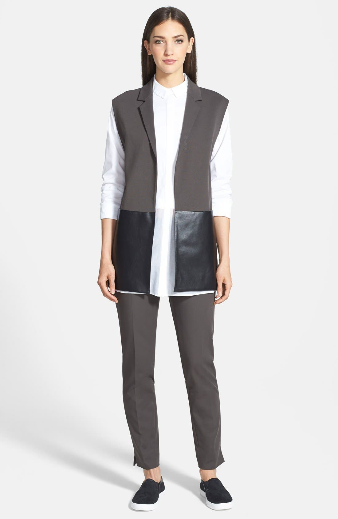 Alternate Image 4  - Lafayette 148 New York Faux Leather & Punto Milano Vest