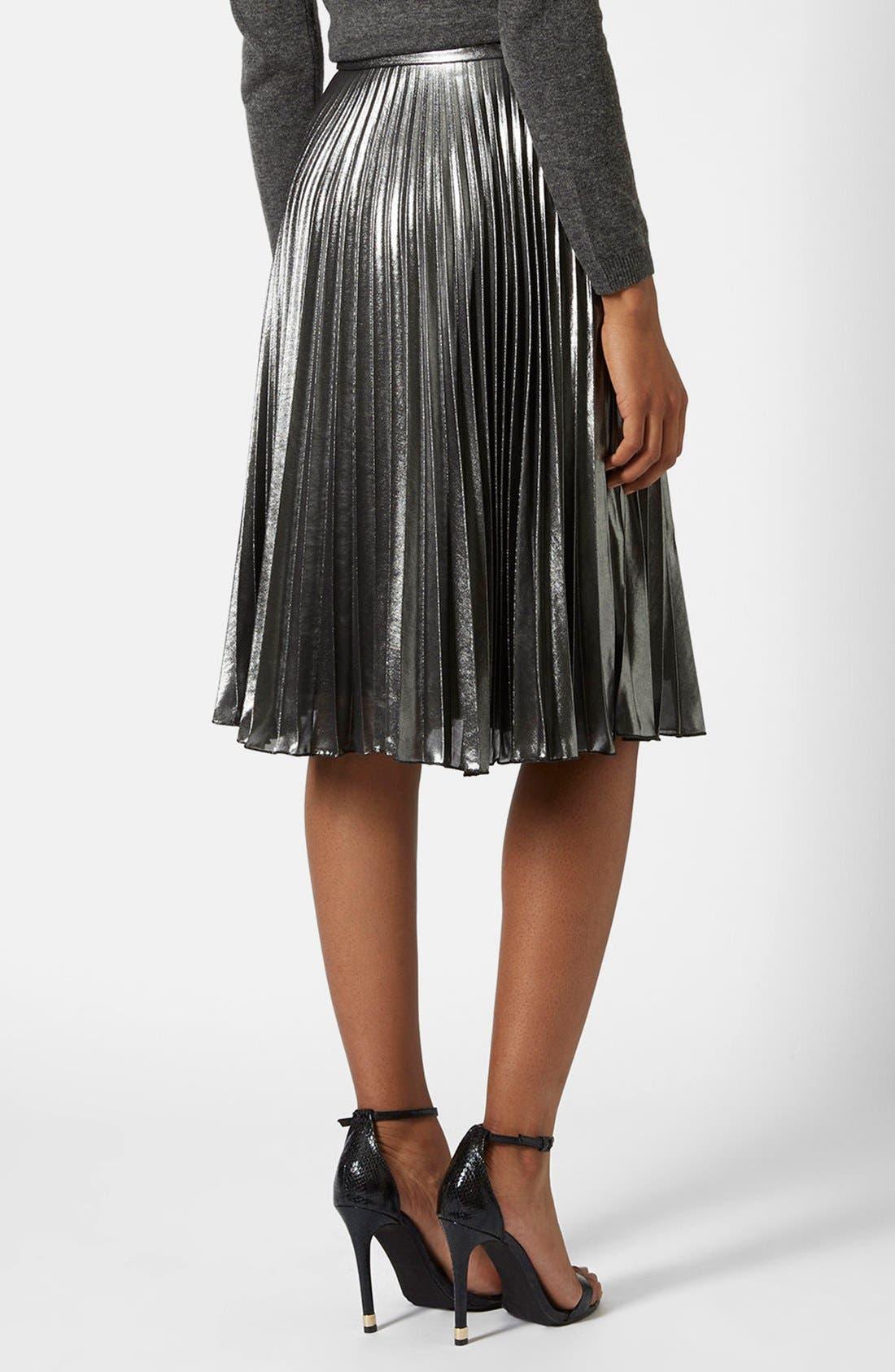Alternate Image 2  - Topshop Pleated Midi Skirt