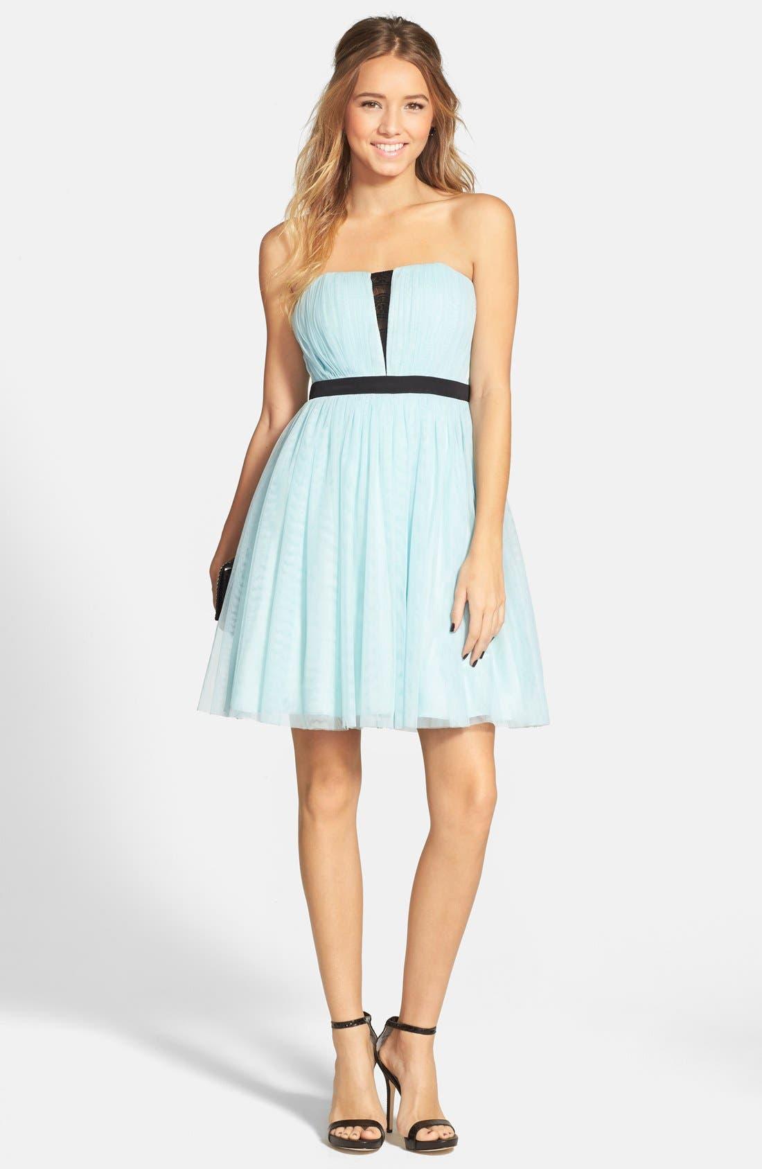 Main Image - a. drea Lace Inset Strapless Ballerina Dress (Juniors)