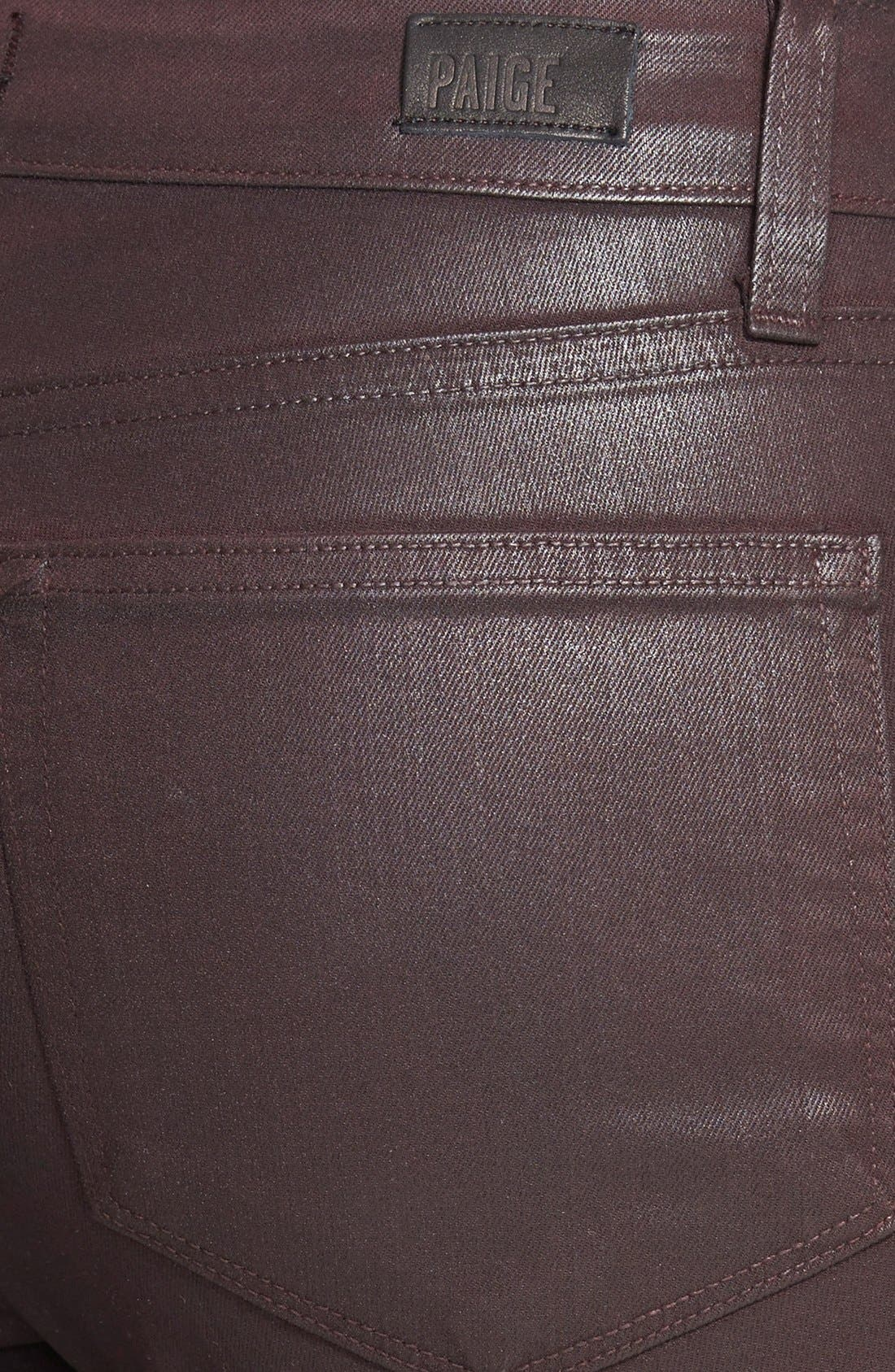 Alternate Image 3  - Paige Denim 'Edgemont' Coated Skinny Jeans (Dark Mauve Pink)