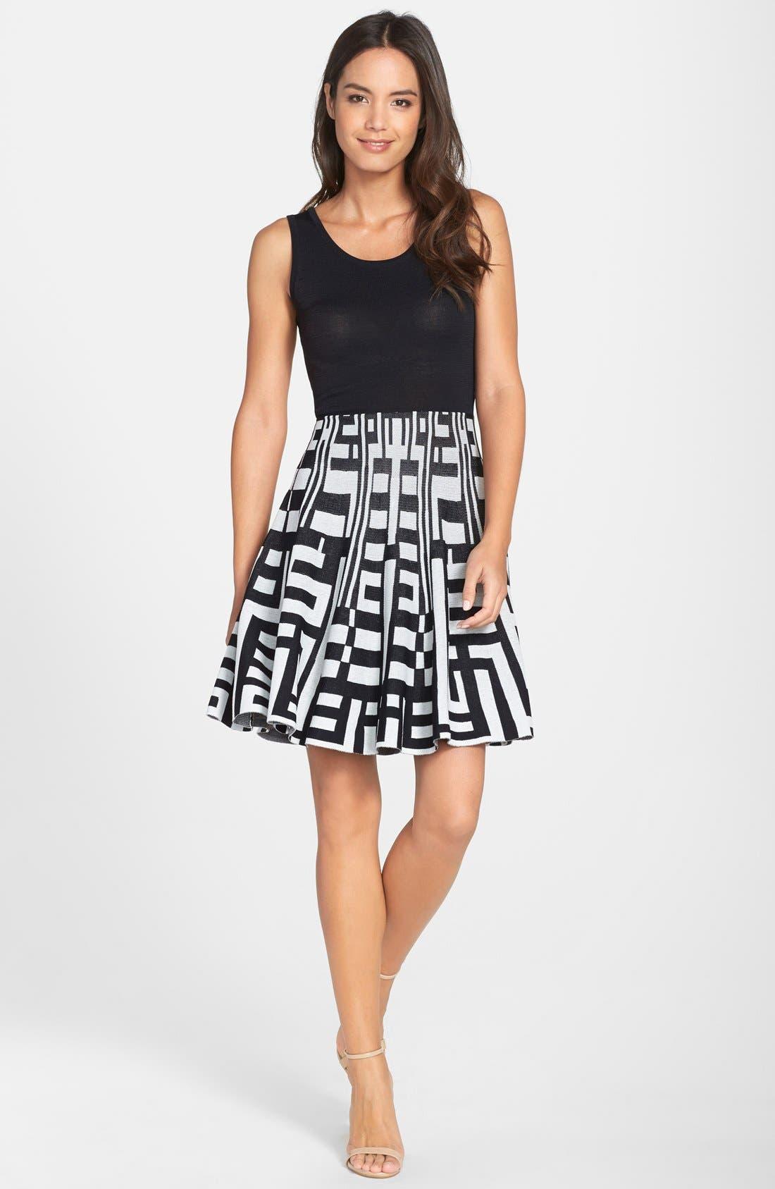 Alternate Image 3  - Plenty by Tracy Reese 'Amber' Print Skirt Fit & Flare Sweater Dress (Regular & Petite)