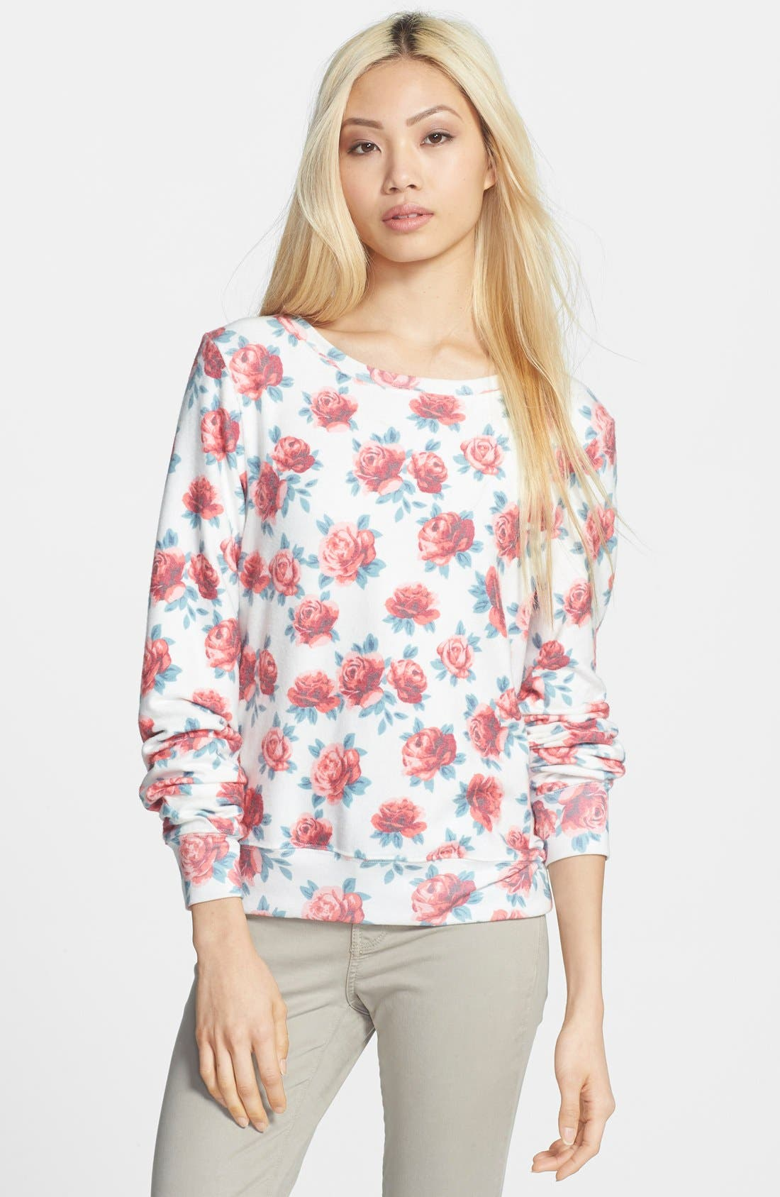 Wildfox Rose Print Baggy Beach Jumper Pullover