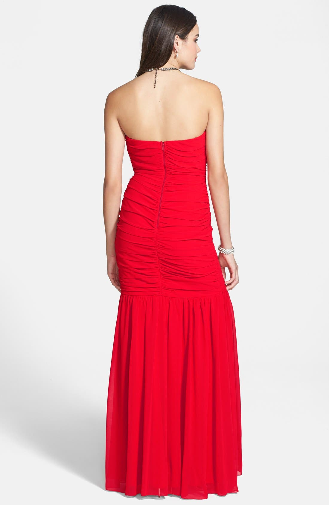 Alternate Image 2  - Way-In Pleated Strapless Gown (Juniors)