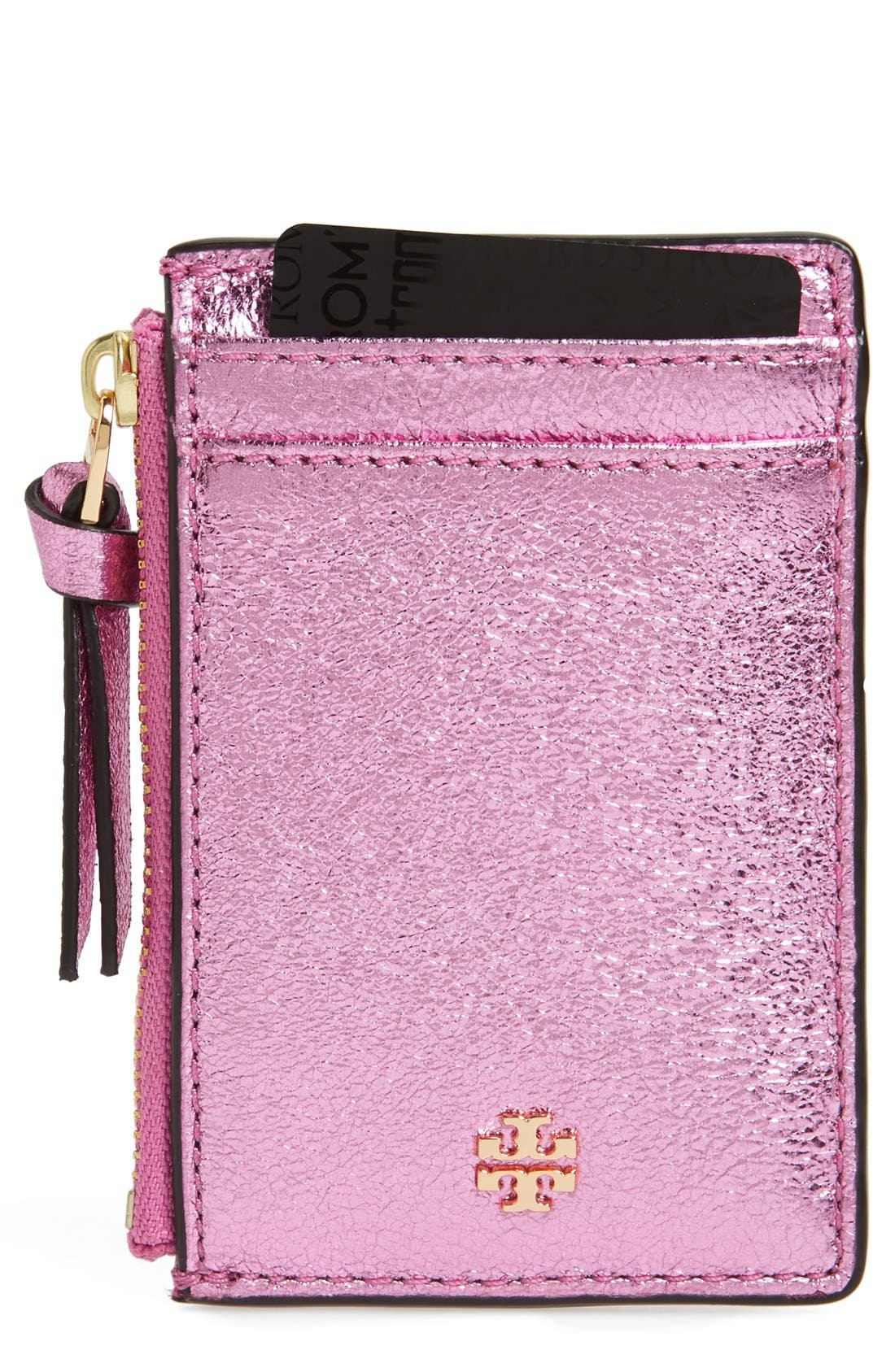 Main Image - Tory Burch Crinkle Metallic Leather Card Case