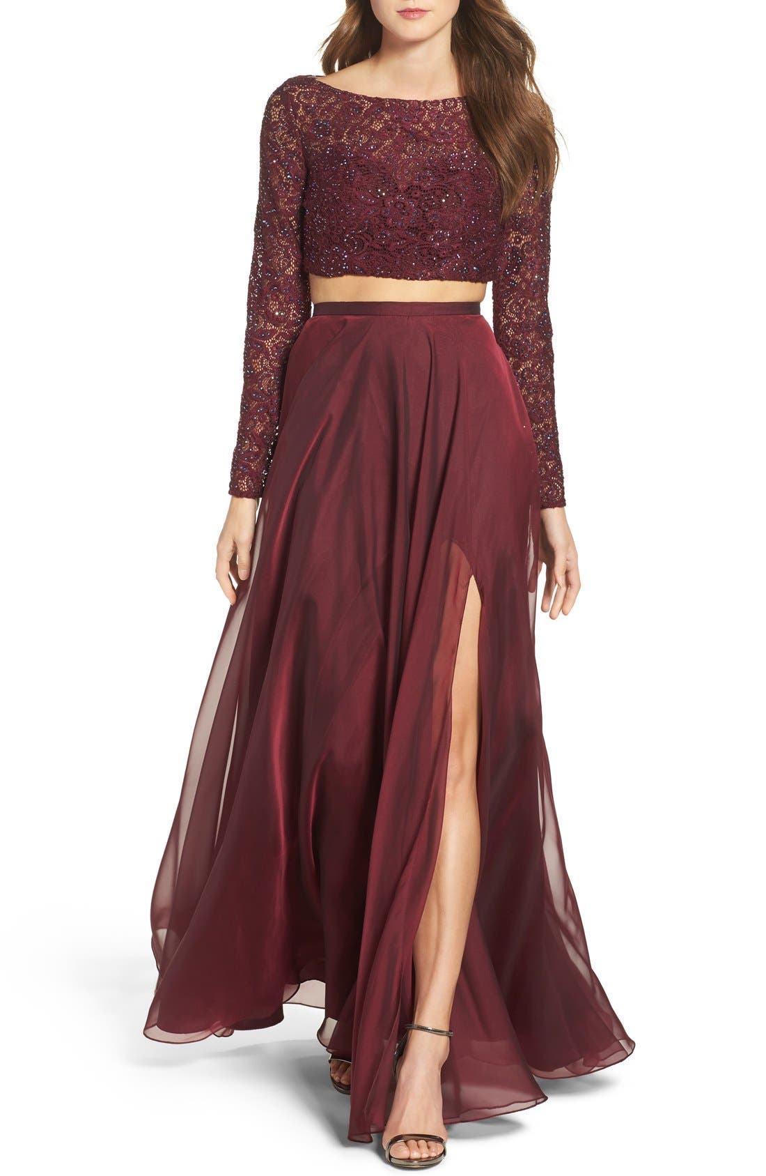 Main Image - La Femme Embellished Lace Two-Piece Gown