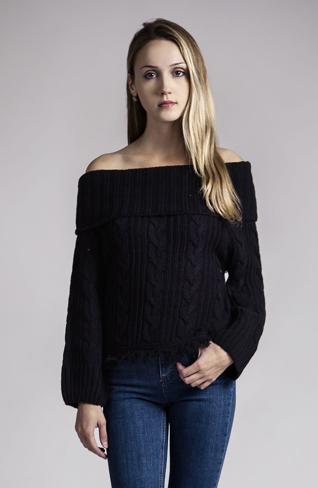 Alternate Image 2  - MOON RIVER Off the Shoulder Sweater