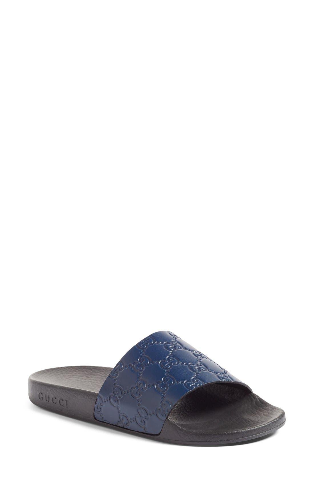 Alternate Image 1 Selected - Gucci Pursuit Logo Slide Sandal (Women)