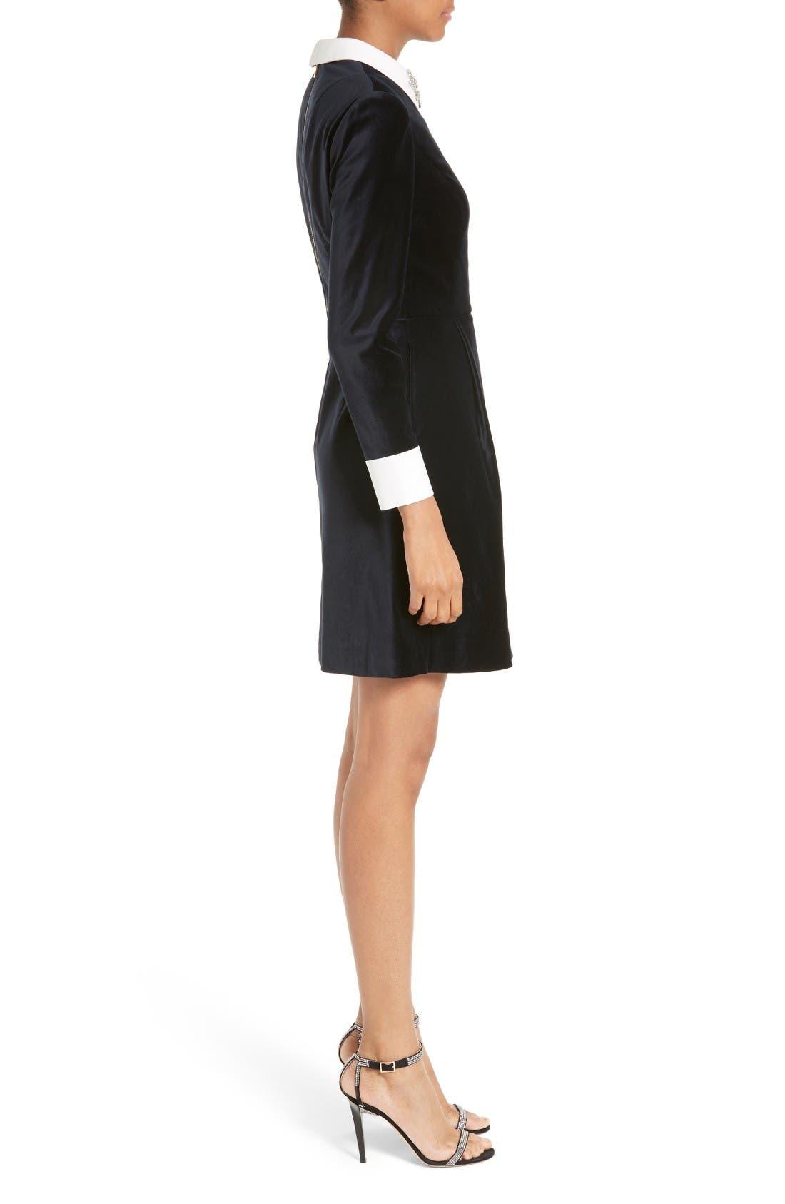 Alternate Image 3  - Ted Baker London Cheryll Embellished Collar Velvet Dress