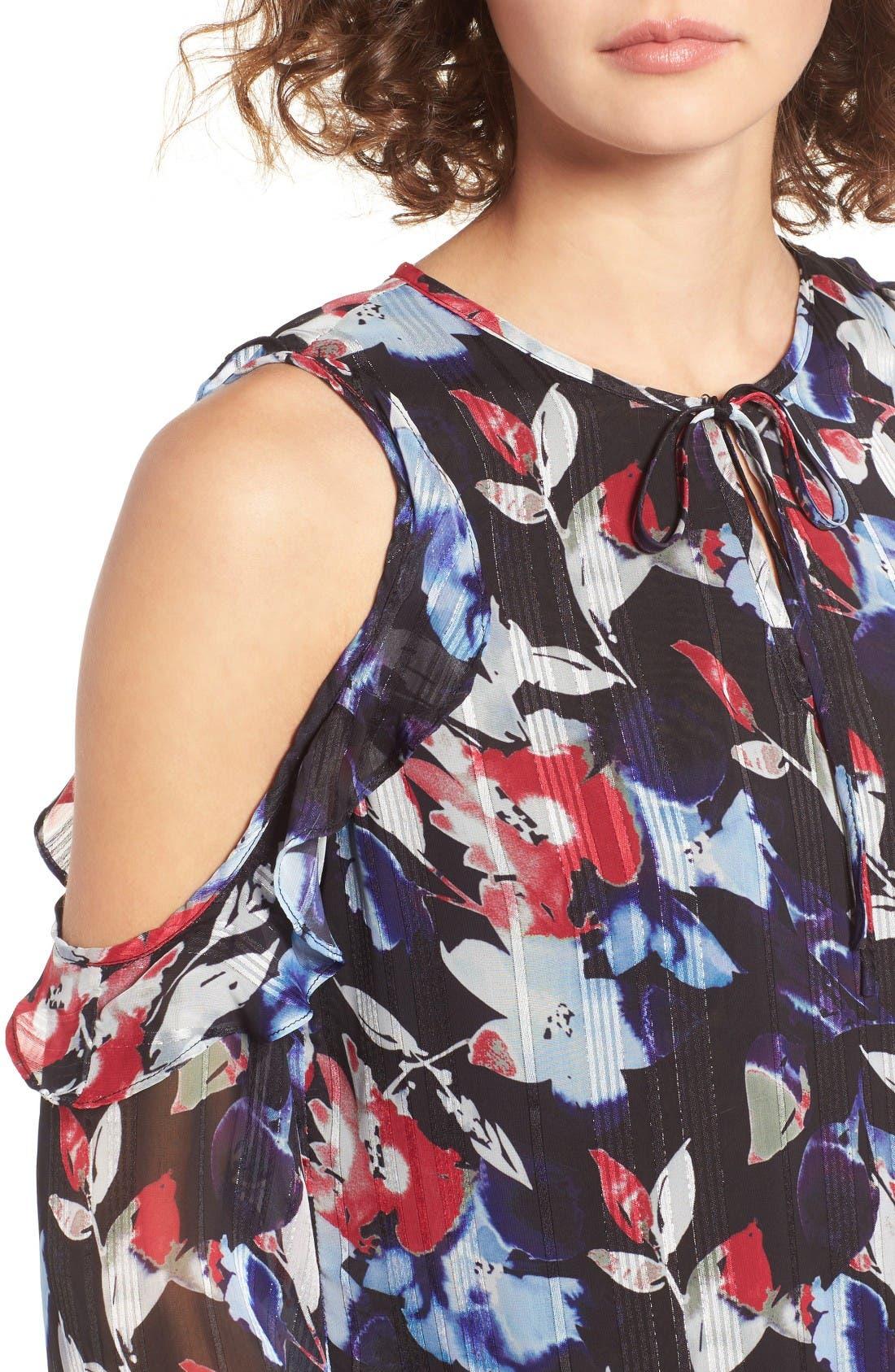 Alternate Image 4  - devlin Essie Floral Cold Shoulder Blouse