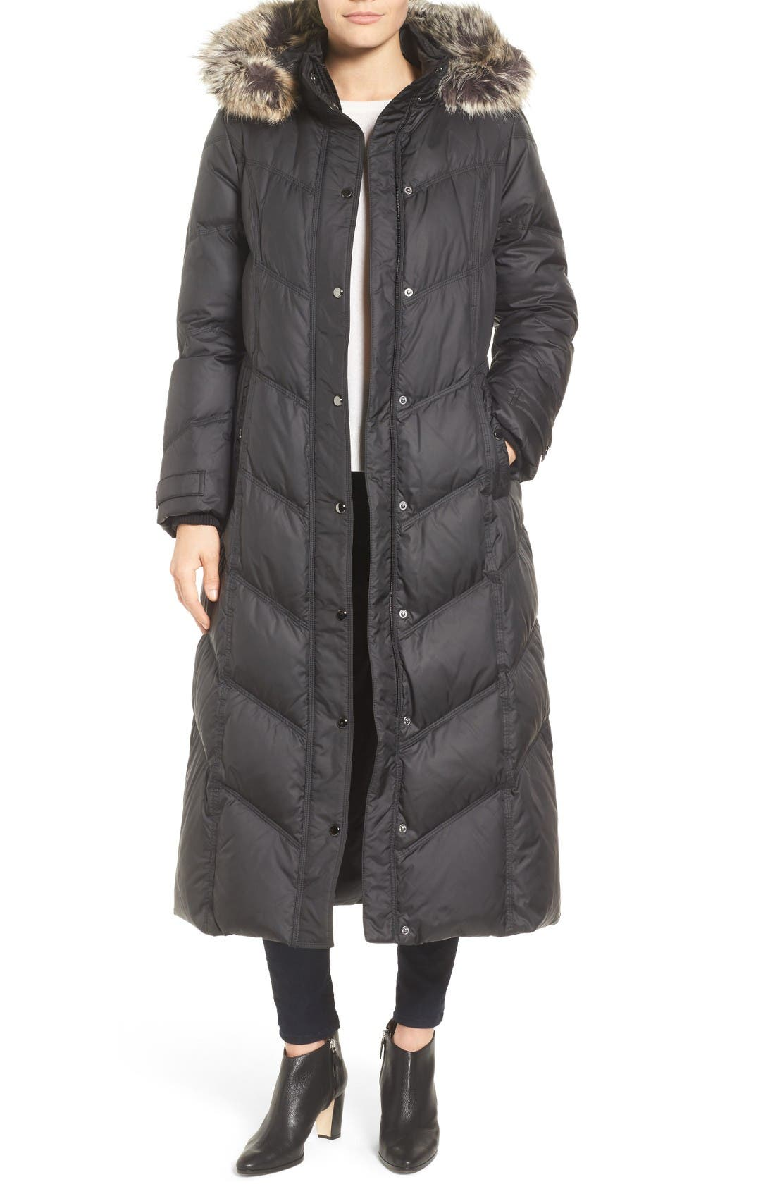 Alternate Image 1 Selected - London Fog Faux Fur Trim Quilted Maxi Coat