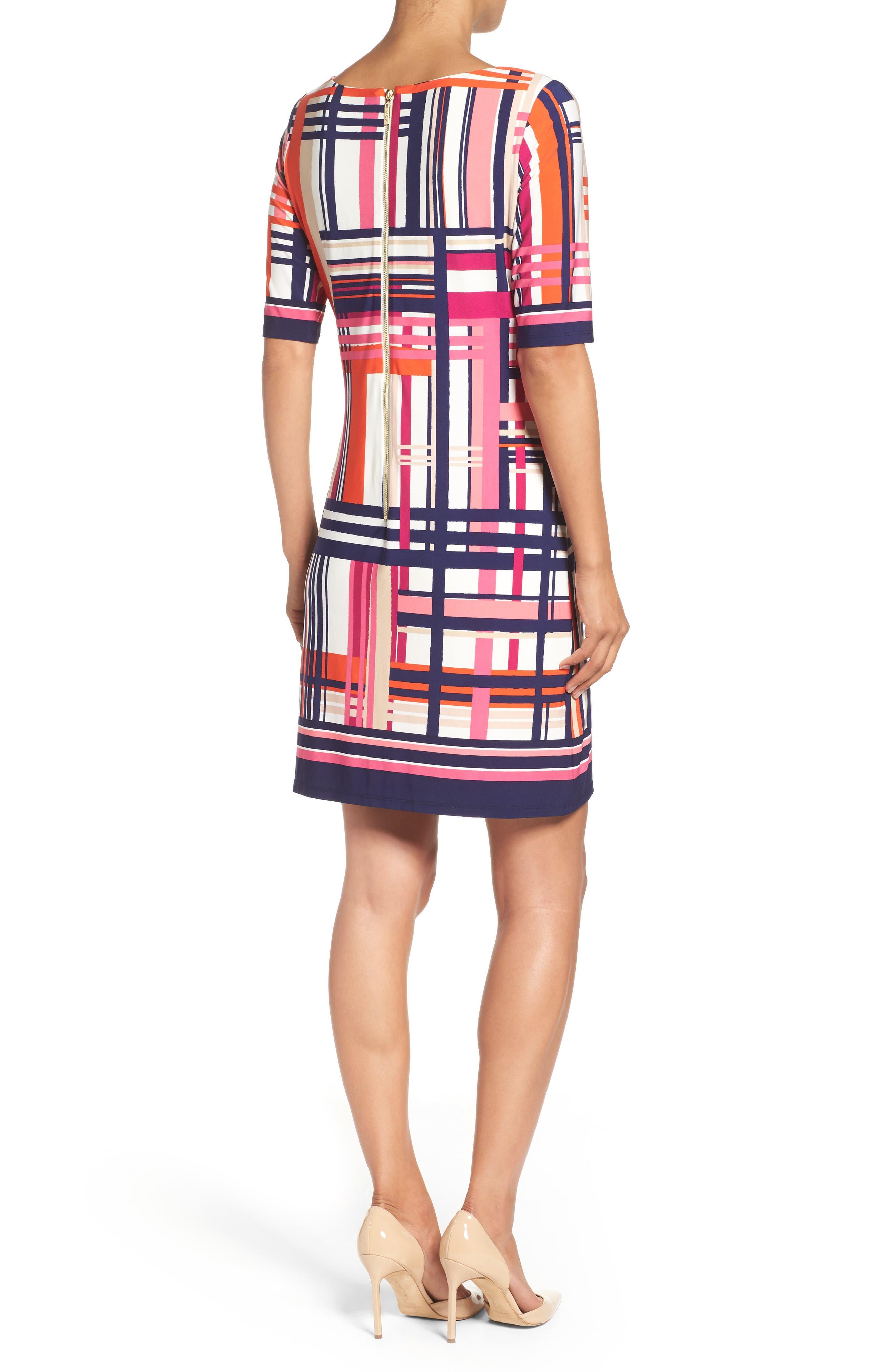 Alternate Image 2  - Eliza J Print Jersey Elbow Sleeve Shift Dress (Regular & Petite)