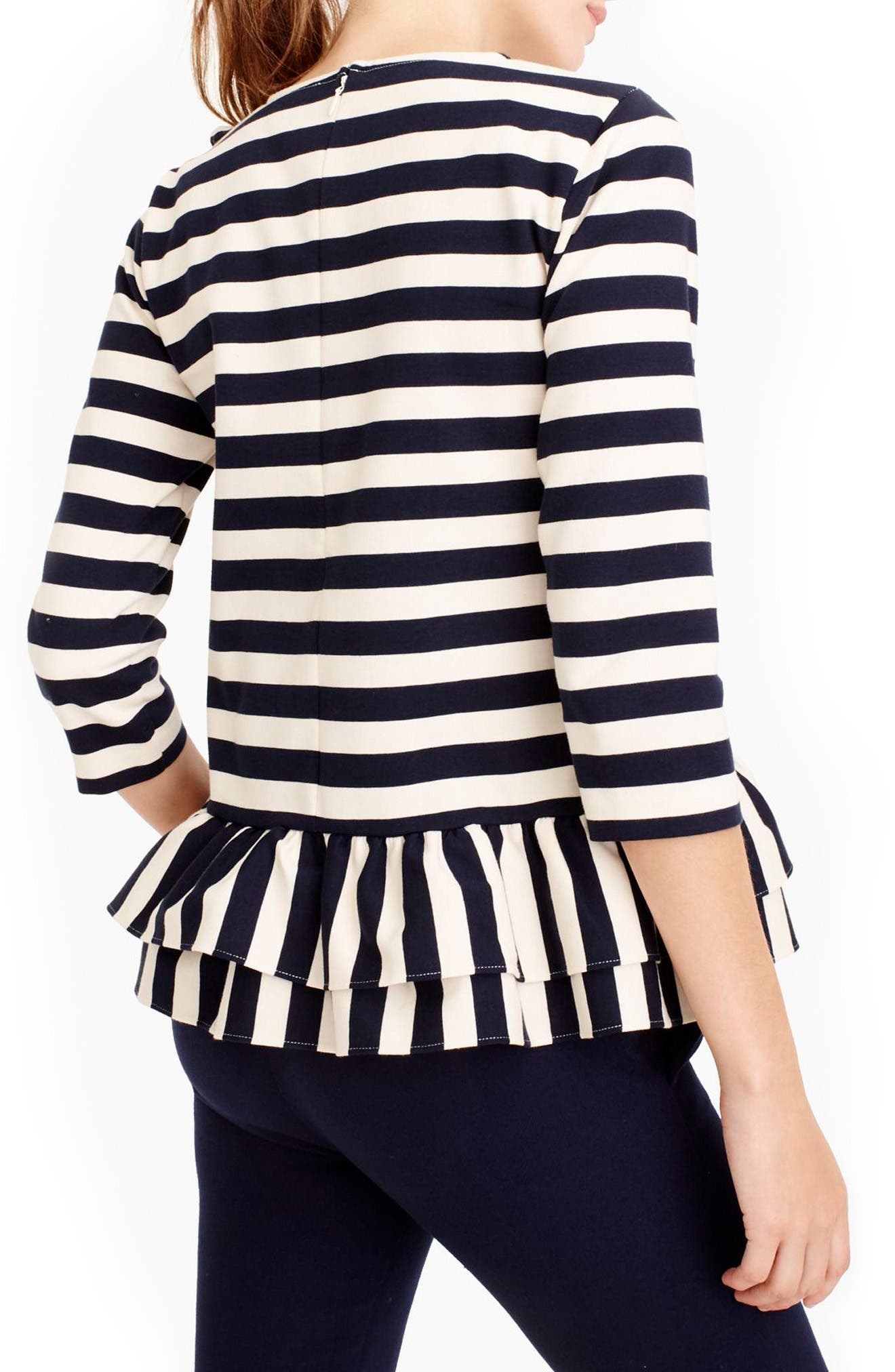 Alternate Image 2  - J.Crew Asymmetrical Stripe Ruffle Top