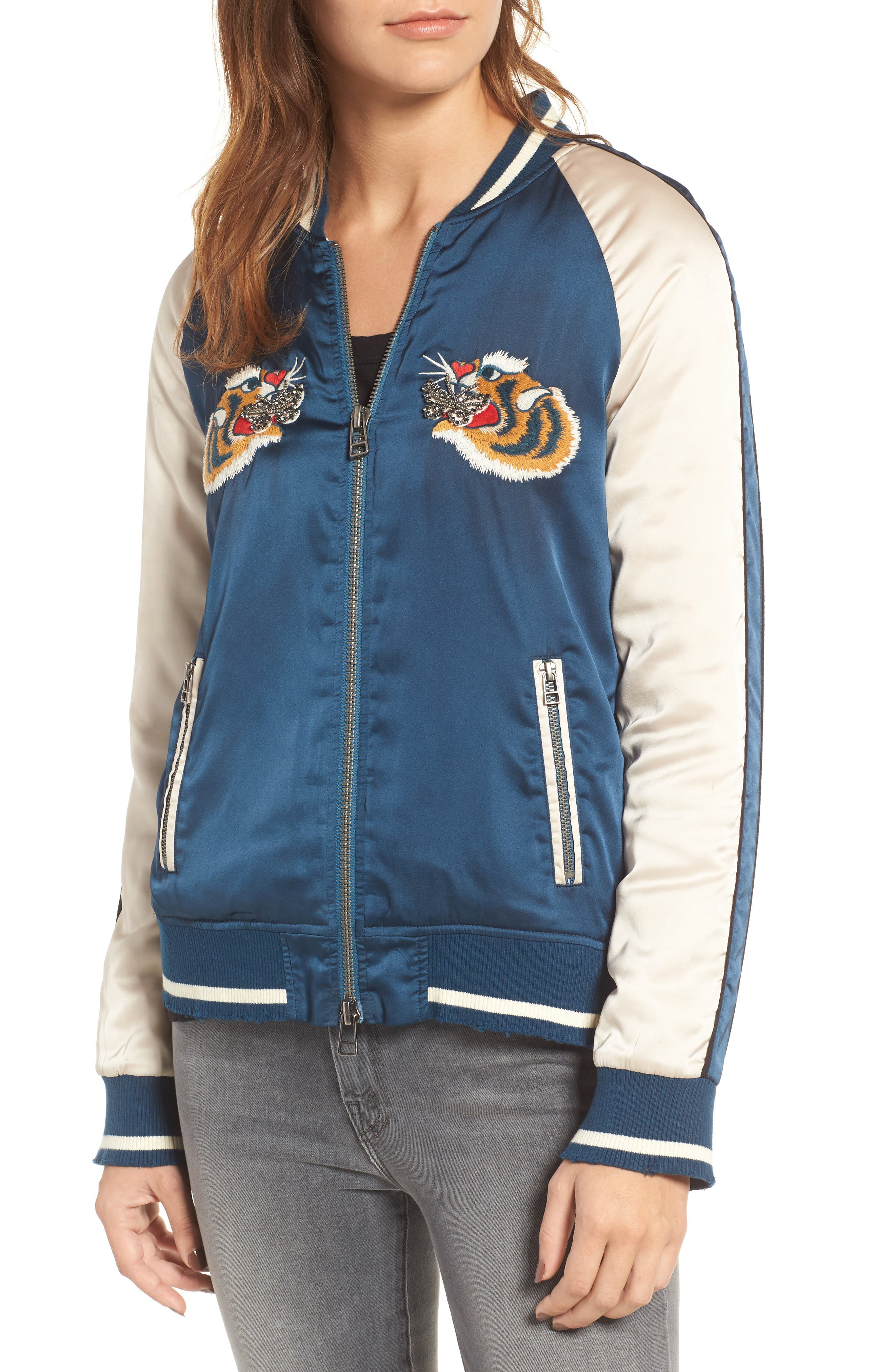 Alternate Image 4  - Pam & Gela Embroidered Satin Bomber Jacket