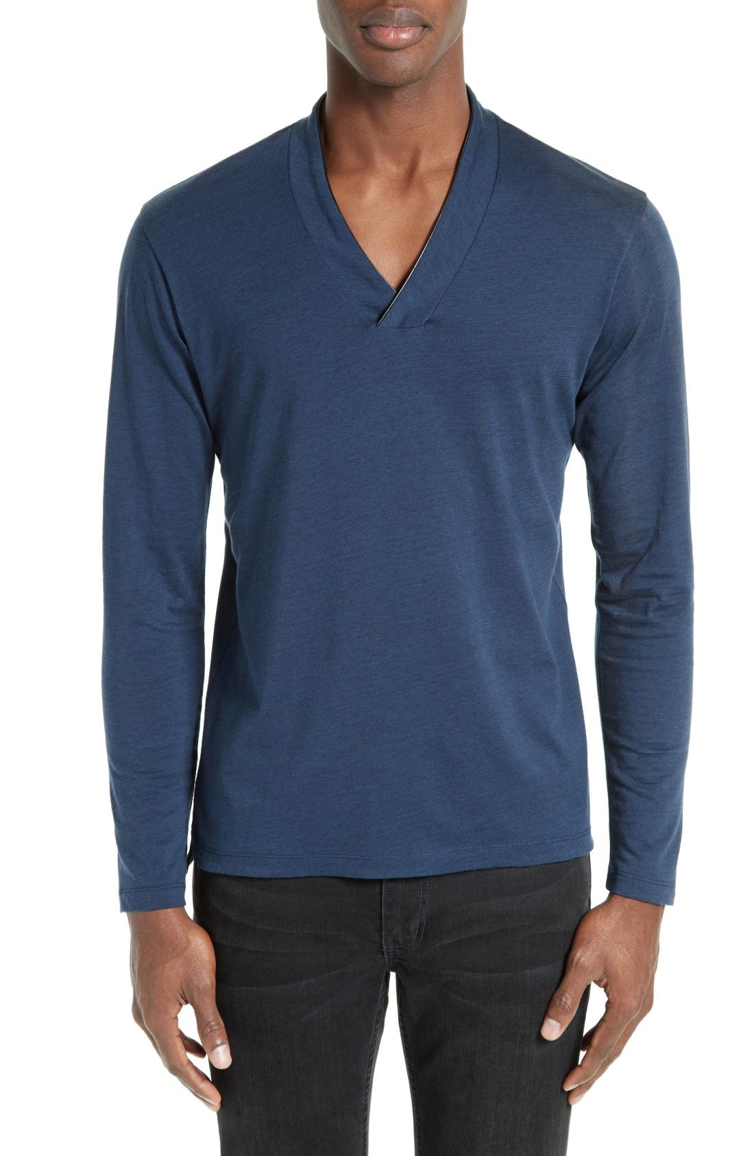 THE KOOPLES Leather Trim Wool & Cotton T-Shirt