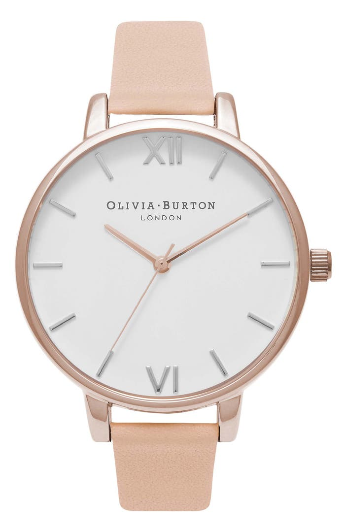 Olivia burton big dial leather strap watch 38mm nordstrom for Watches 38mm