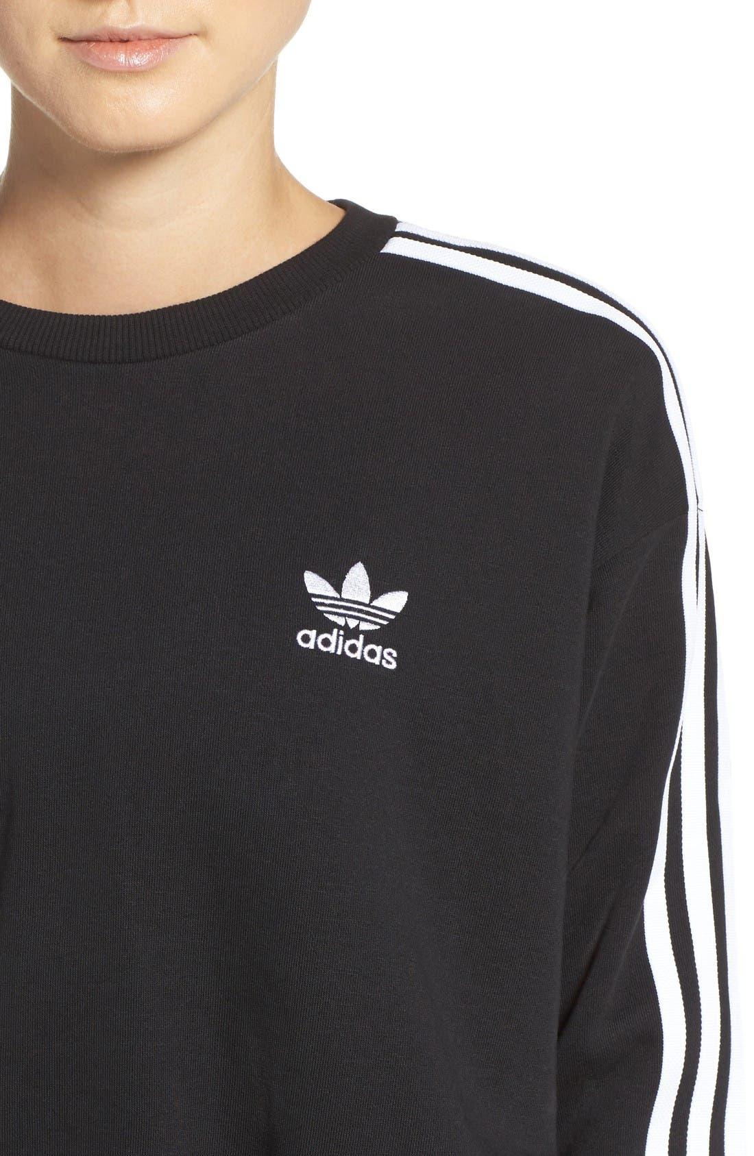 Alternate Image 4  - adidas Originals 3-Stripes Crop Sweatshirt