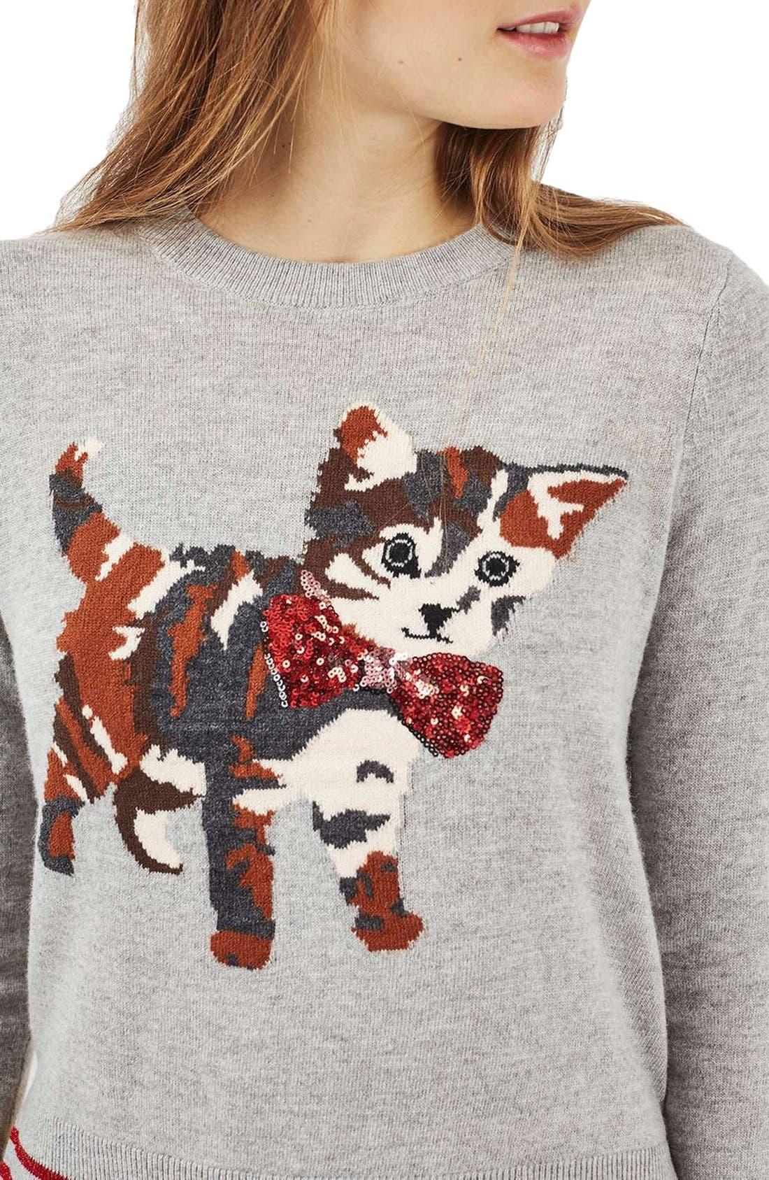 Alternate Image 5  - Topshop Sequin Embellished Cat Sweater (Petite)