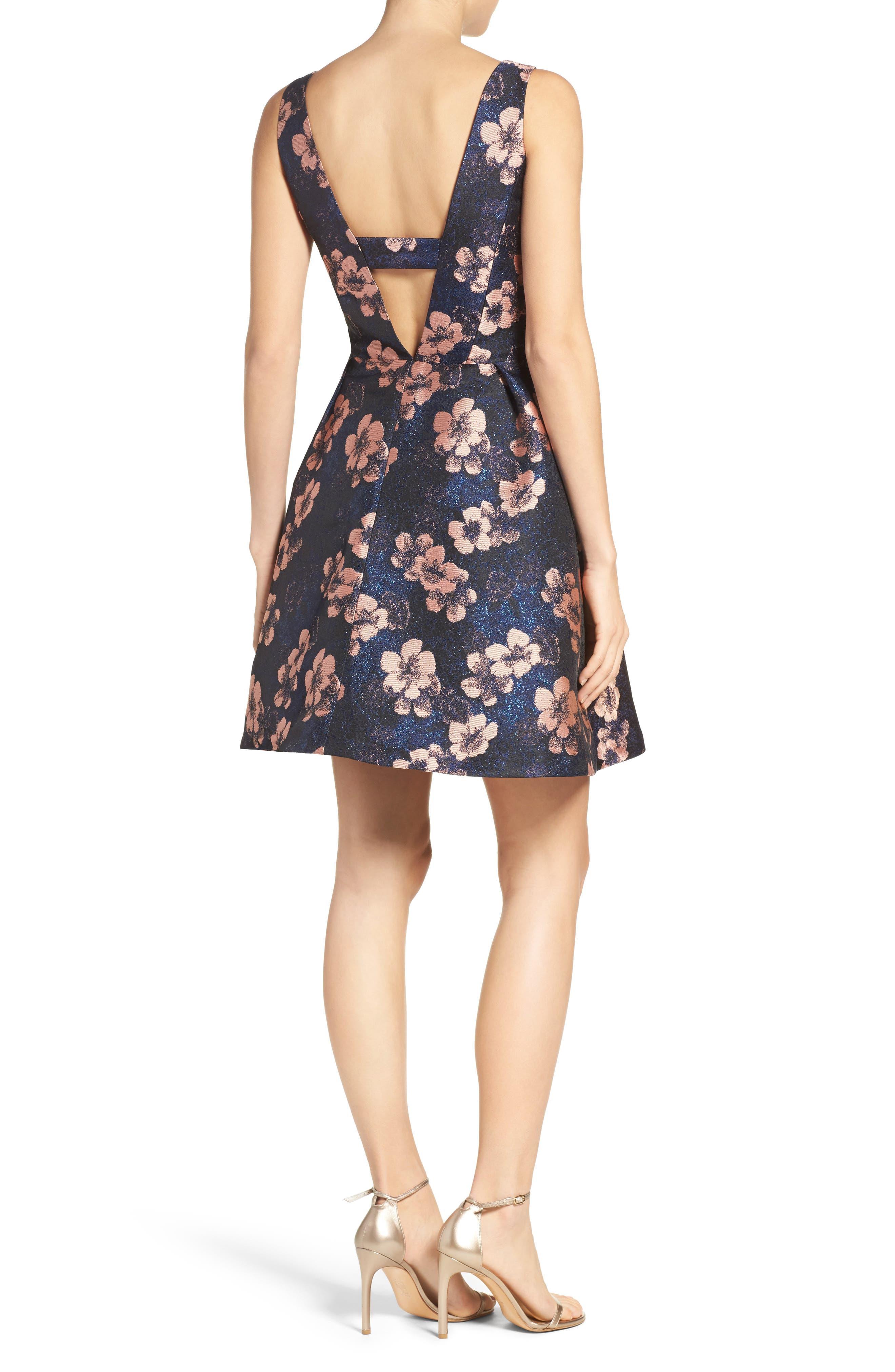 Alternate Image 2  - Betsey Johnson Metallic Jacquard Fit & Flare Dress