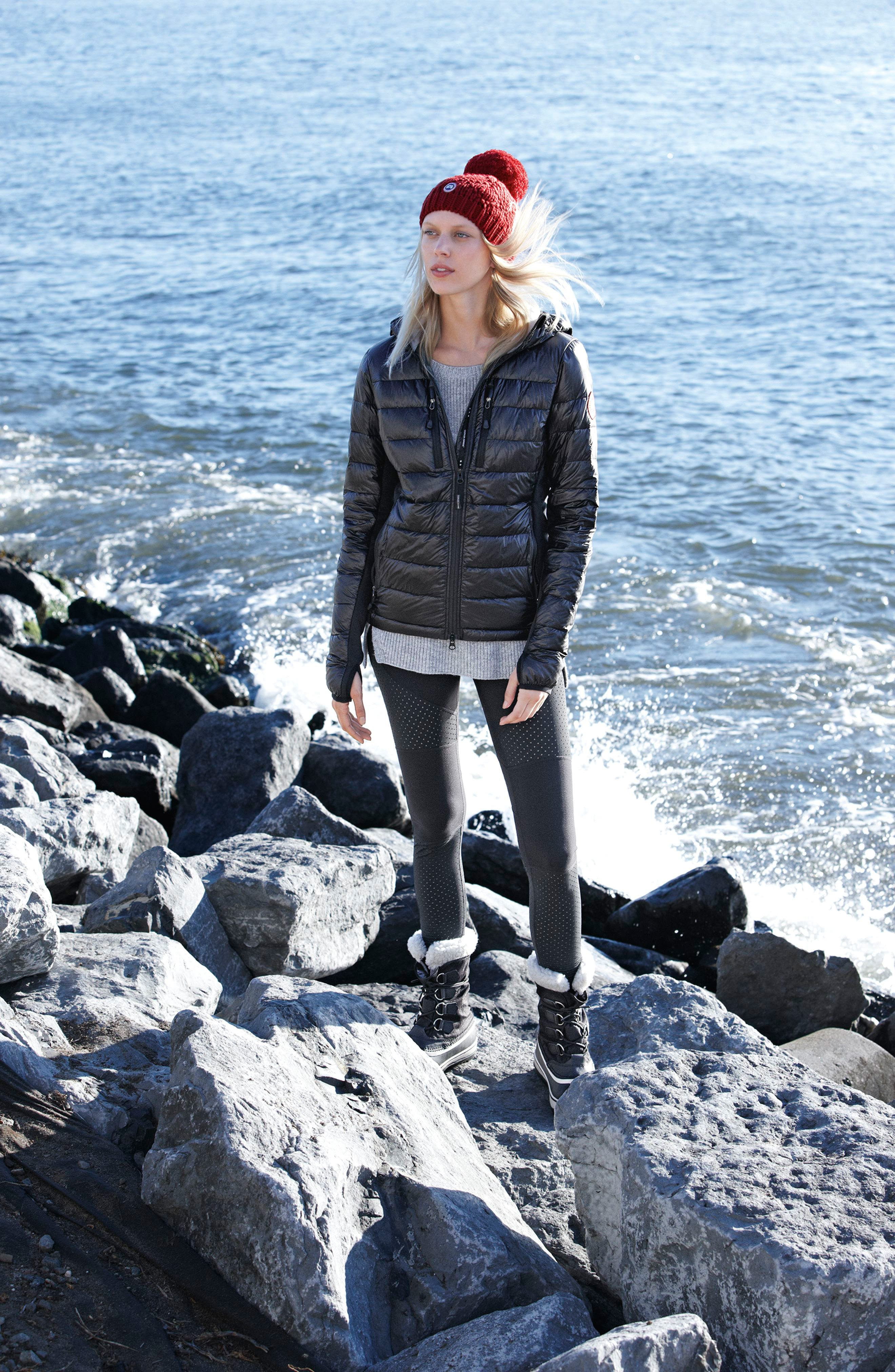 Canada Goose Down Jacket, Michael Stars Sweater & Alo Leggings Outfit with Accessories