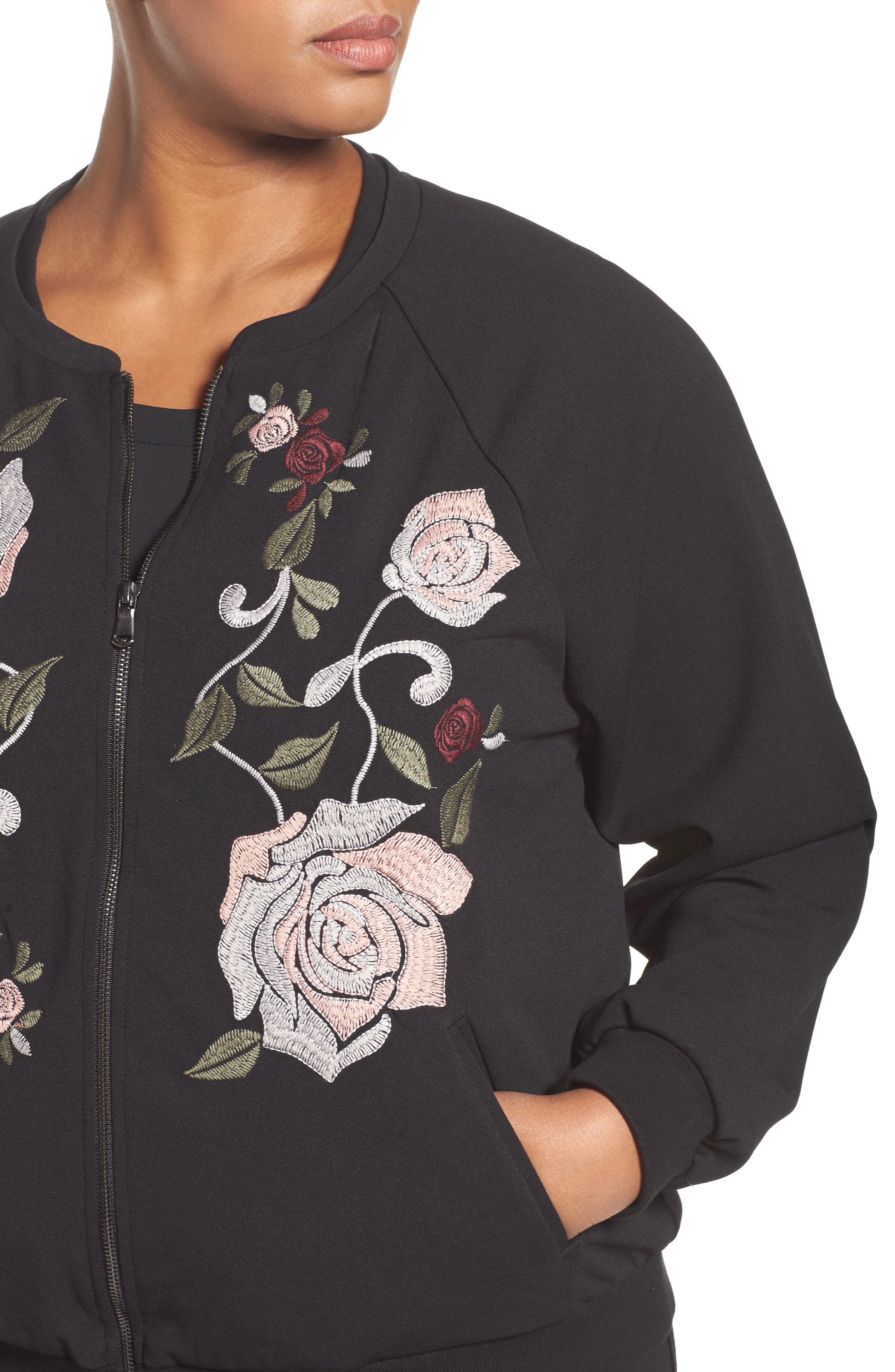 Alternate Image 4  - Democracy Embroidered Bomber Jacket (Plus Size) (Nordstrom Exclusive)