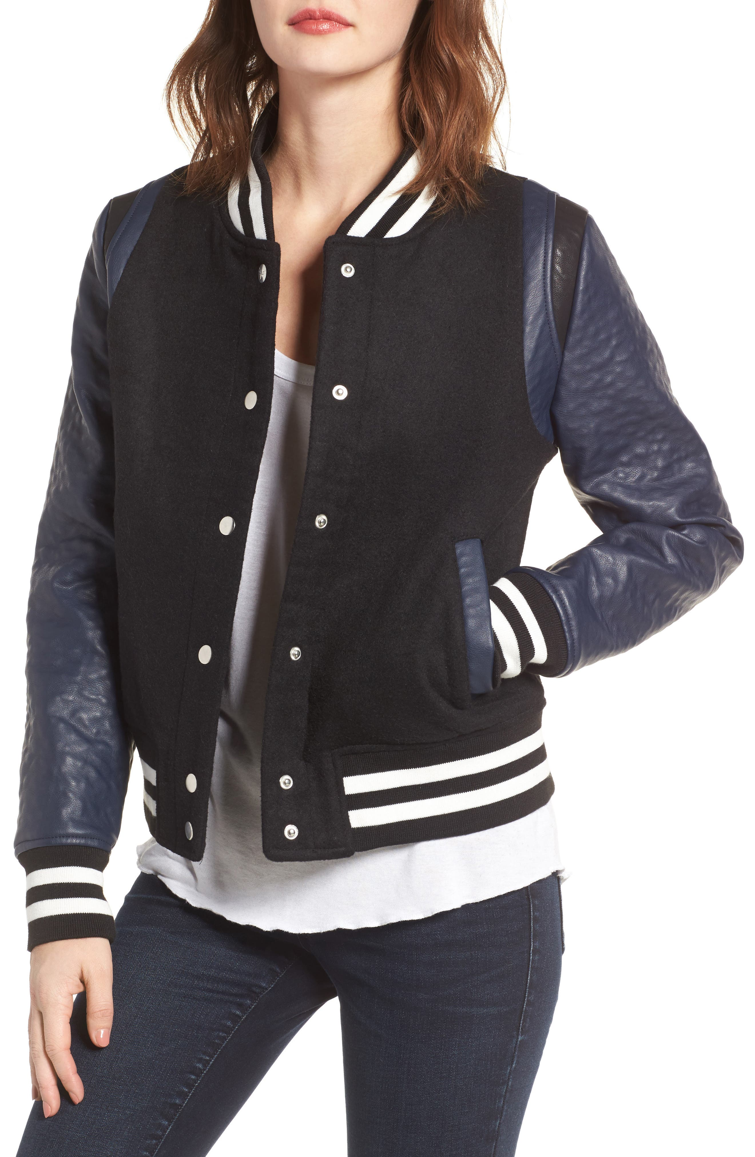 Main Image - Vigoss Wool & Faux Leather Baseball Jacket