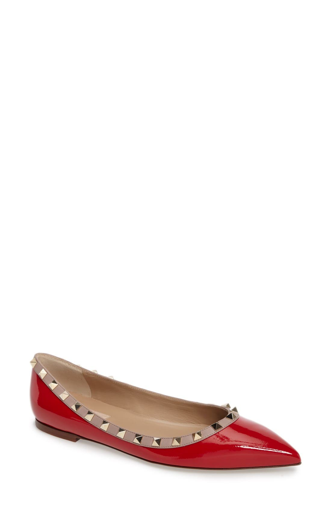 Valentino Rockstud Ballerina Flat (Women)