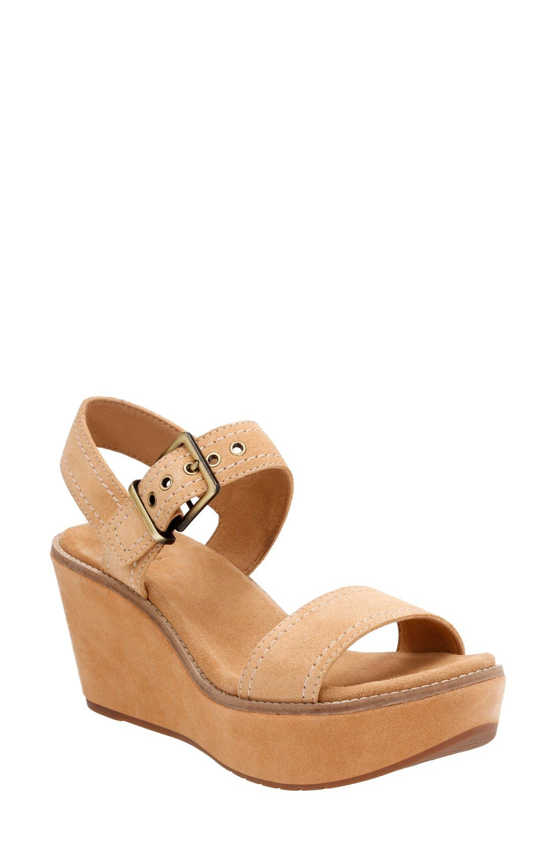 Main Image - Clarks® Aisley Orchid Wedge Sandal (Women)