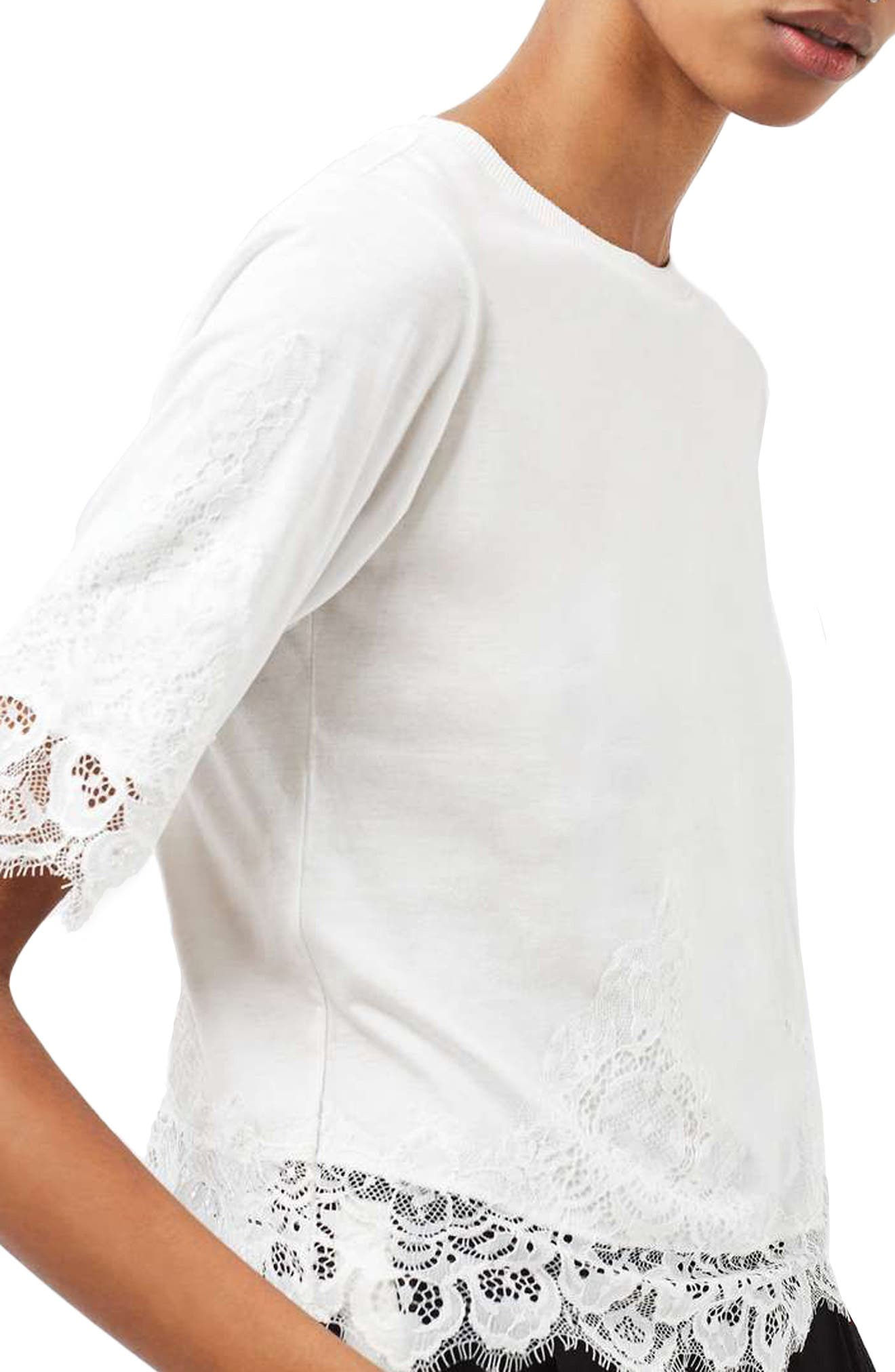 Alternate Image 3  - Topshop Lace Trim Tee
