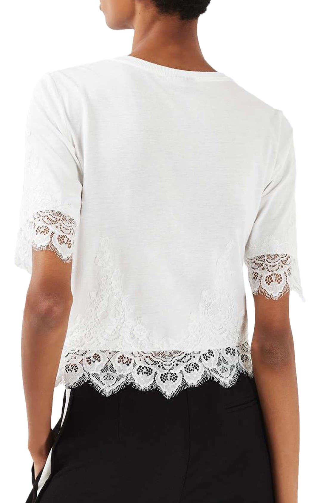 Alternate Image 2  - Topshop Lace Trim Tee