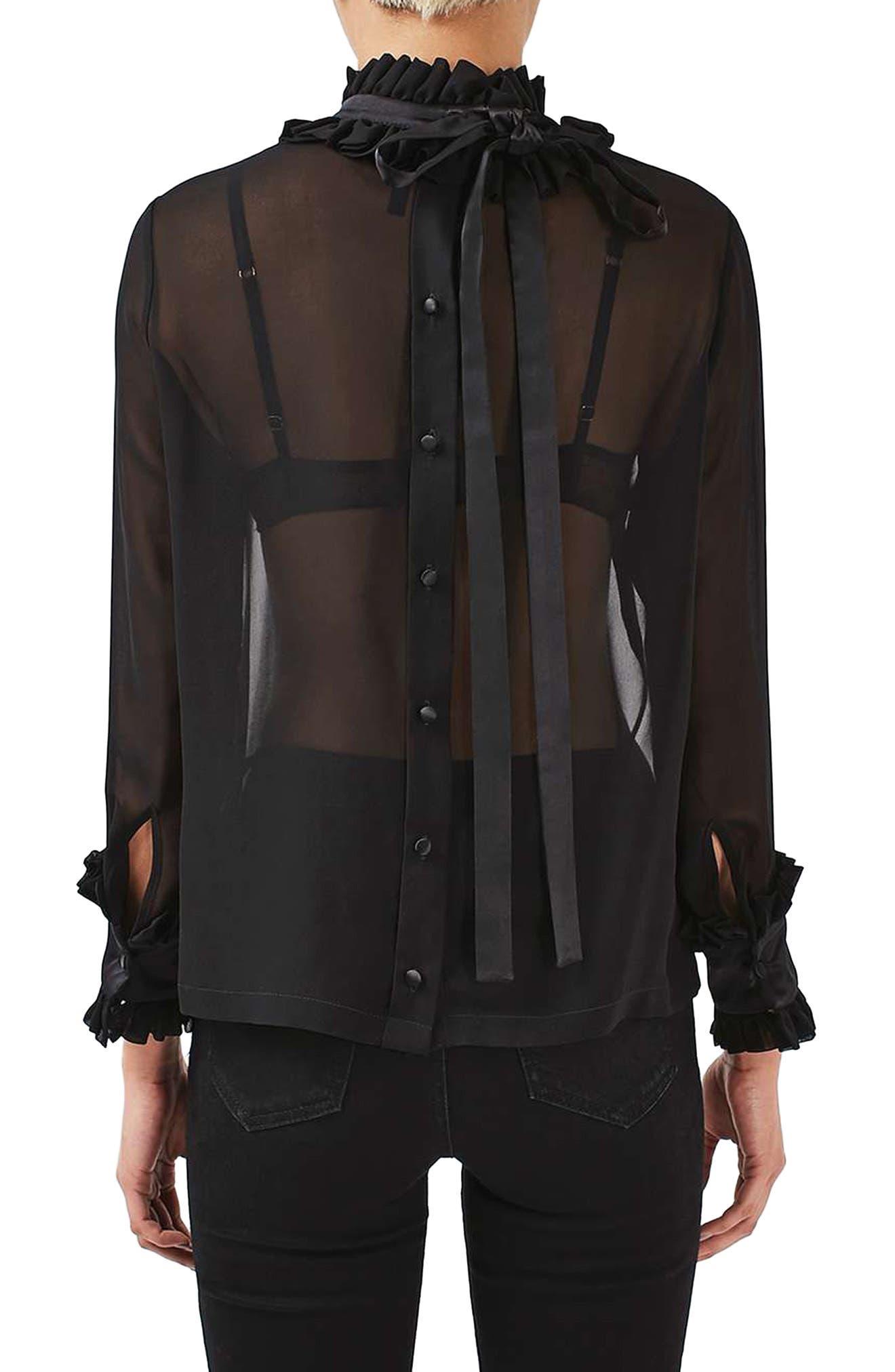 Alternate Image 3  - Topshop Boutique Hagen Sheer Silk Blouse