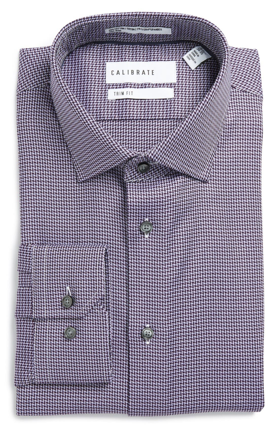 CALIBRATE Trim Fit Non-Iron Houndstooth Stretch Dress Shirt