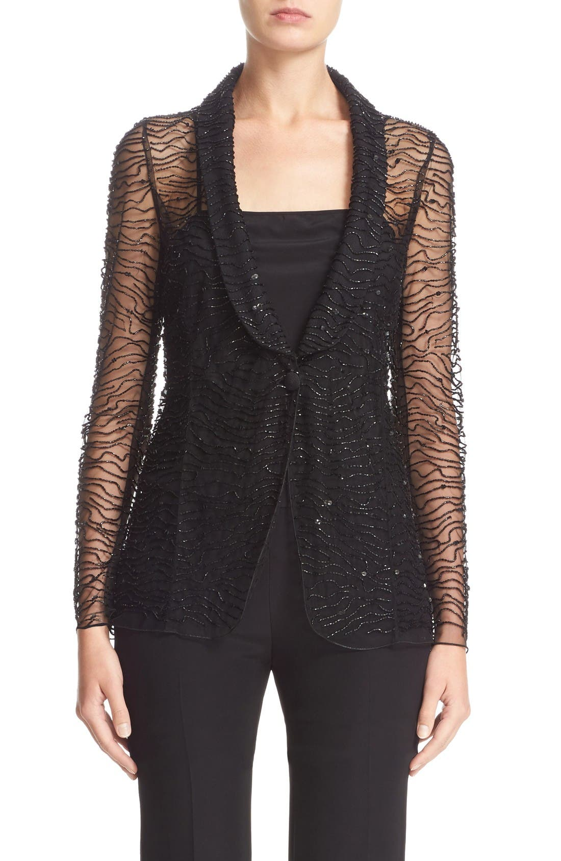 ARMANI COLLEZIONI Embellished One-Button Jacket