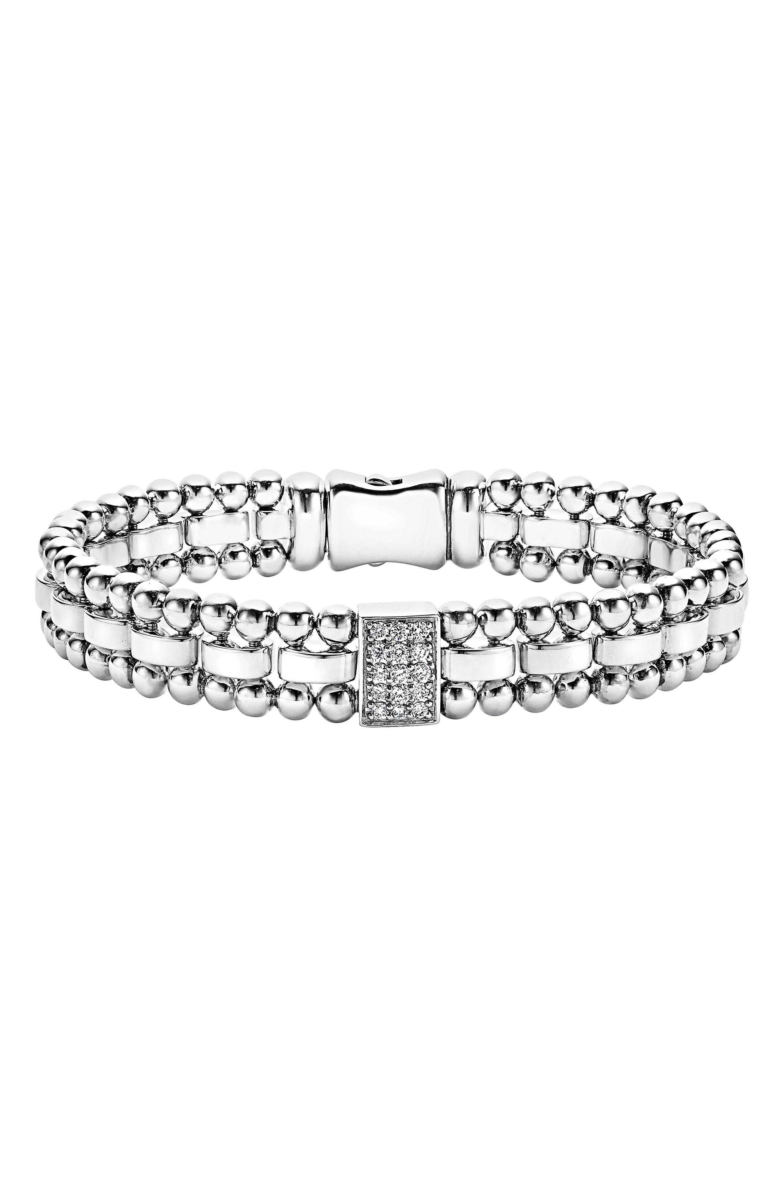 LAGOS Caviar Spark Diamond Rectangle Link Bracelet
