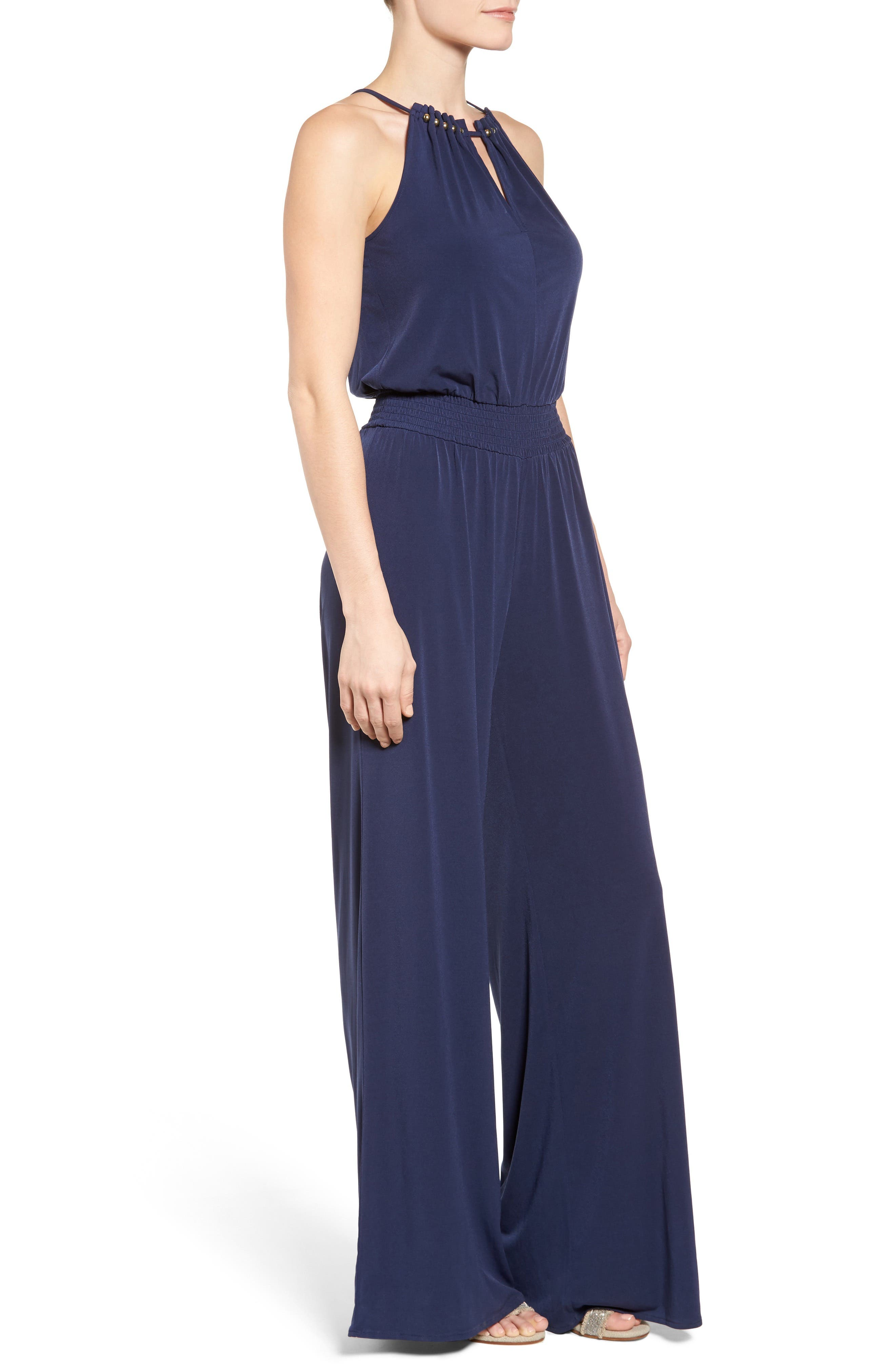 Alternate Image 3  - MICHAEL Michael Kors Embellished Smocked Waist Jumpsuit