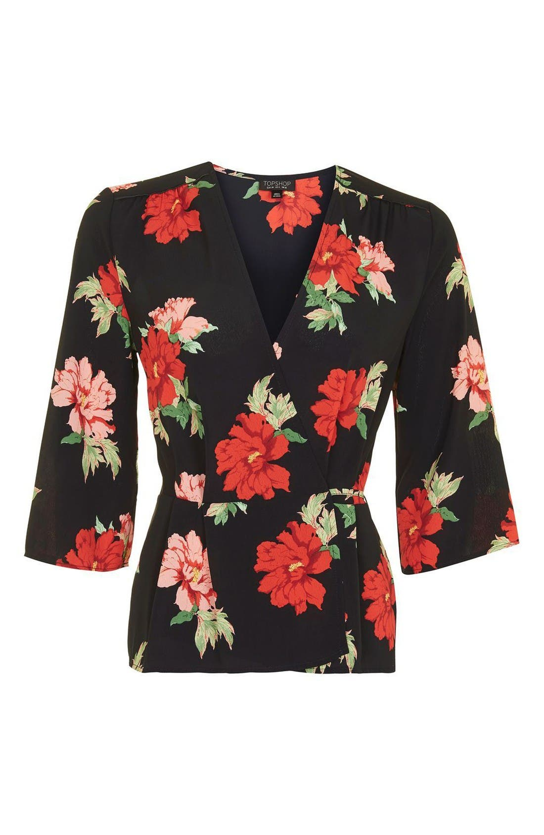 Alternate Image 4  - Topshop Rita Floral Wrap Top