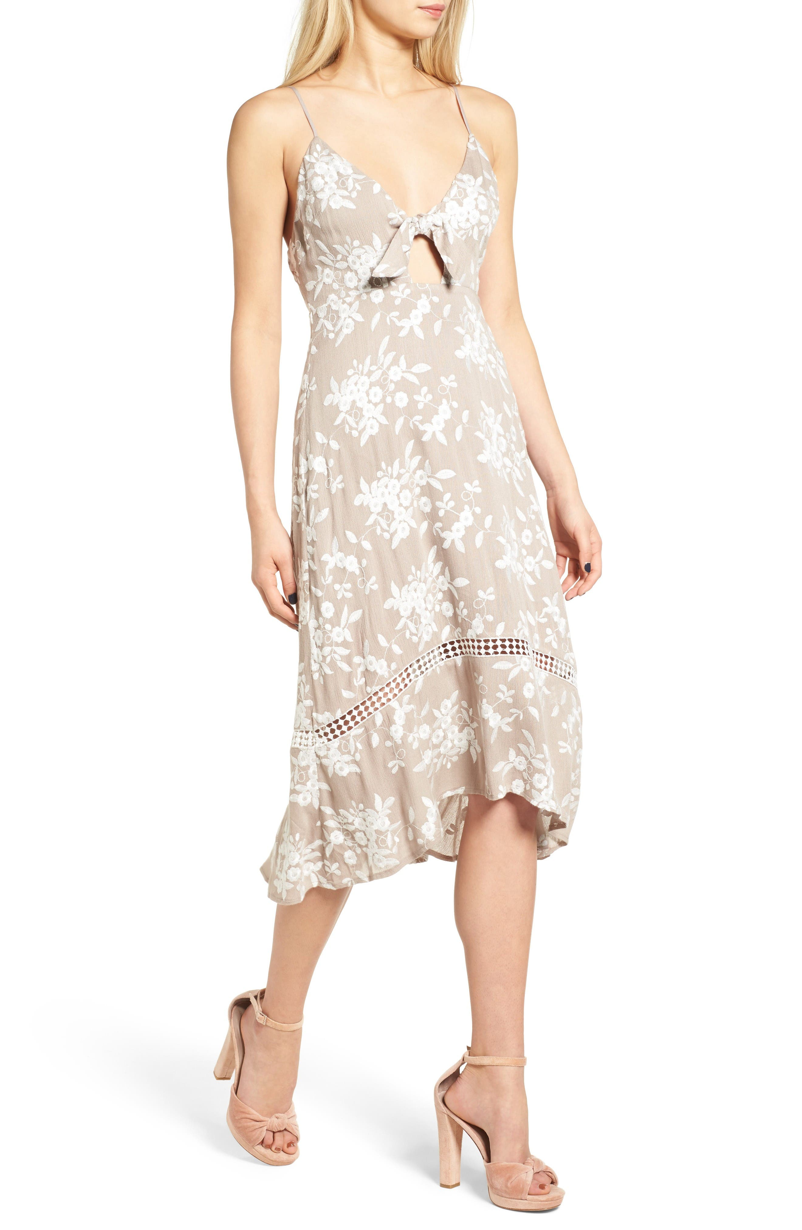 Alternate Image 5  - ASTR the Label Embroidered Tie Front Dress
