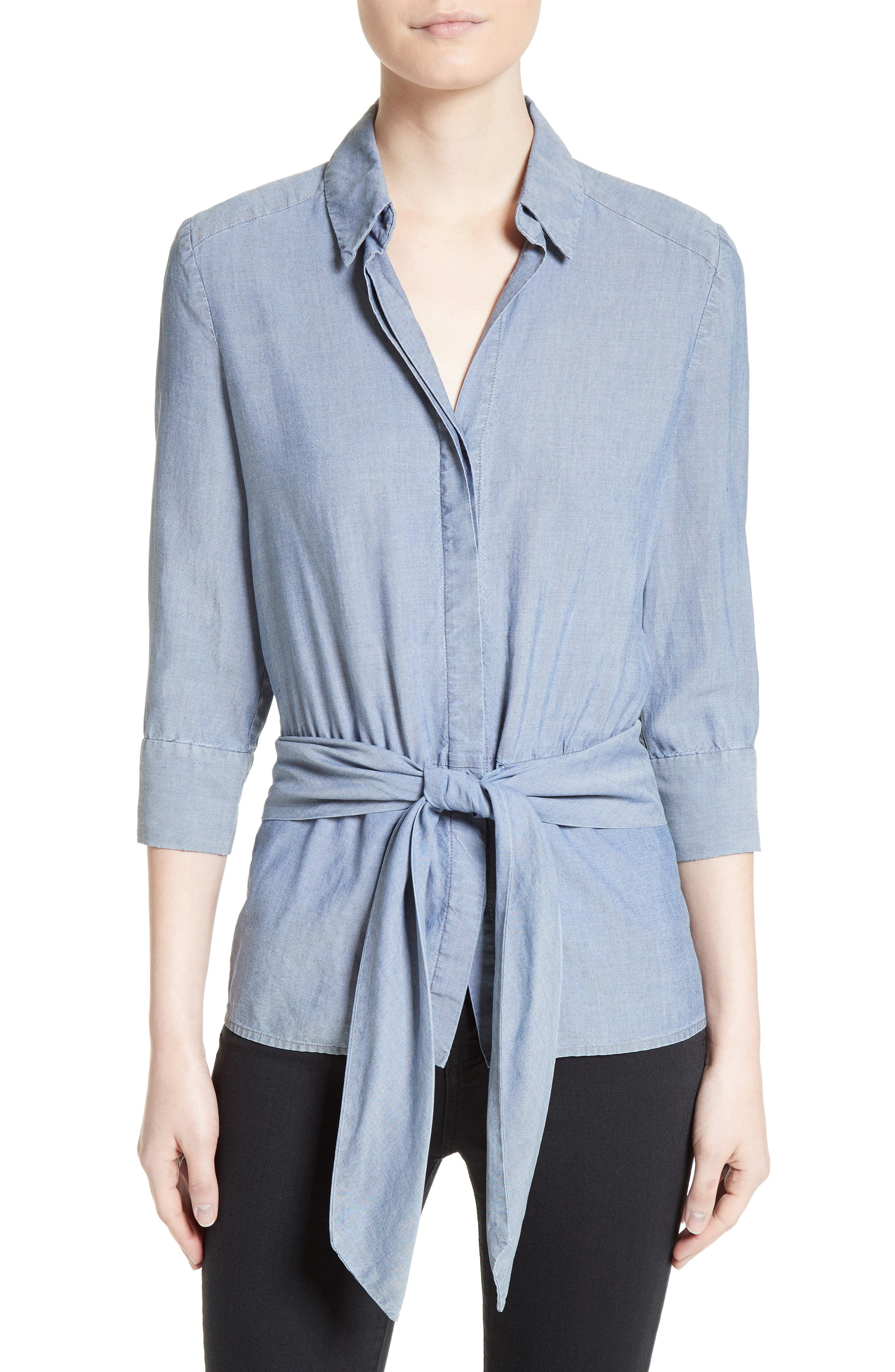 L'AGENCE Chambray Tie Front Shirt
