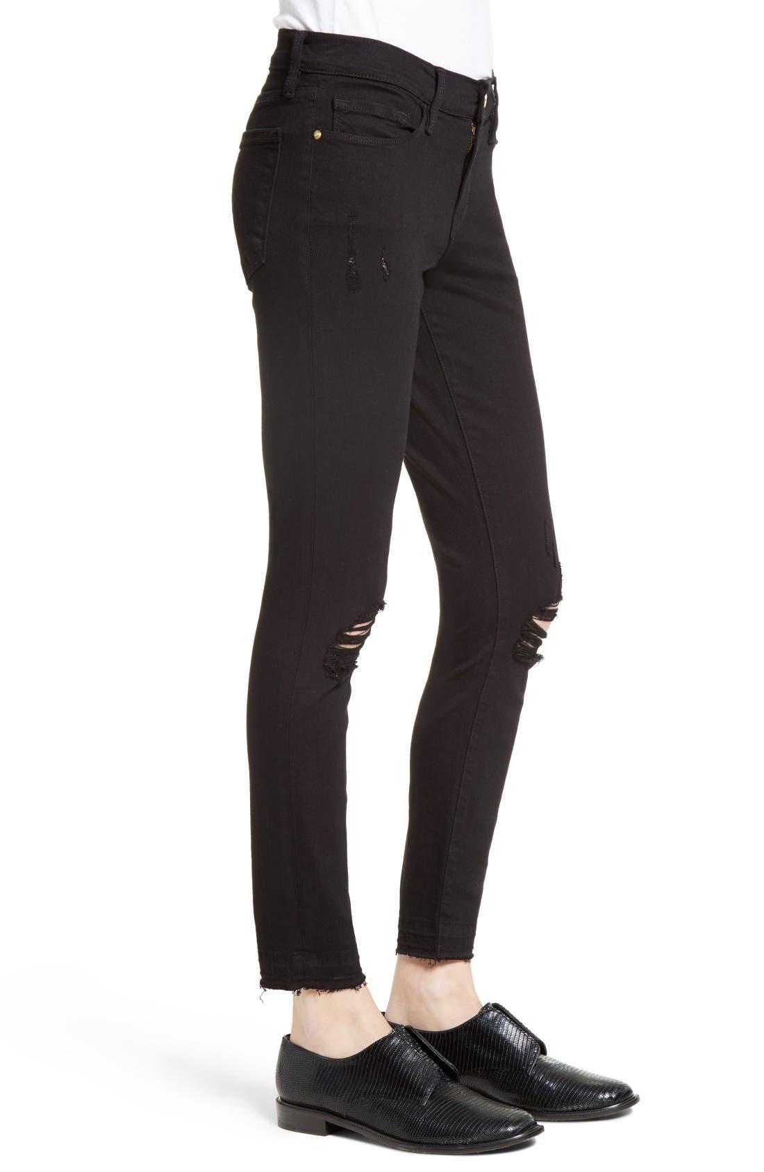 Alternate Image 3  - FRAME Distressed Release Hem Skinny Jeans