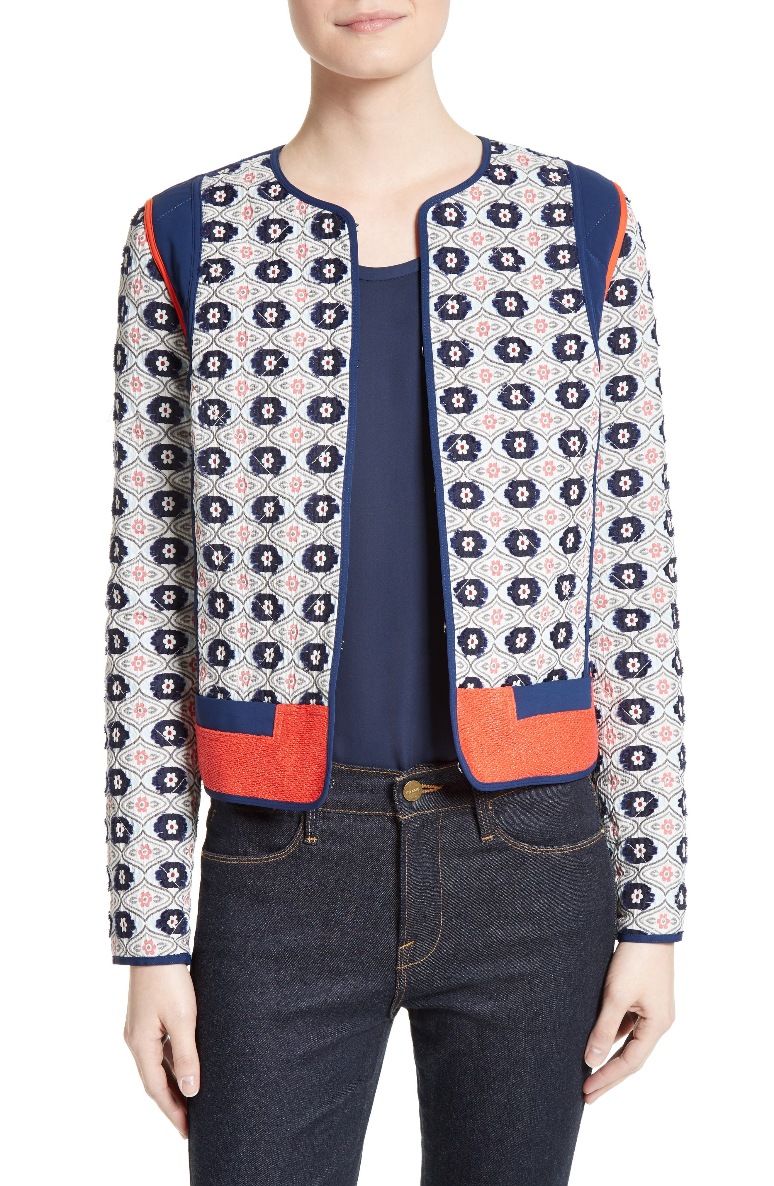 Main Image - Tory Burch Rainford Clip Jacquard Quilted Jacket