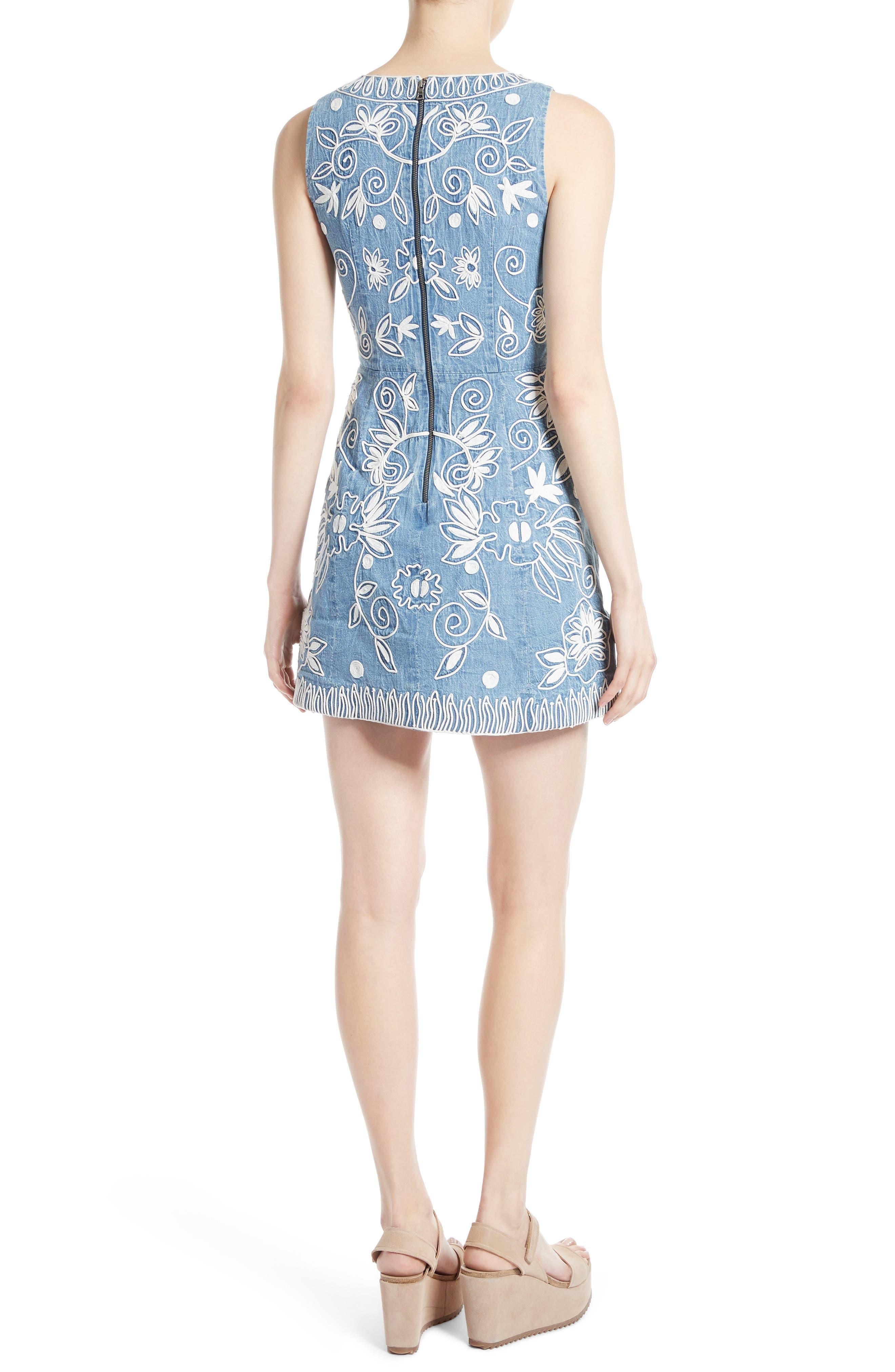 Alternate Image 2  - Alice + Olivia Lindsey Embroidered A-Line Dress