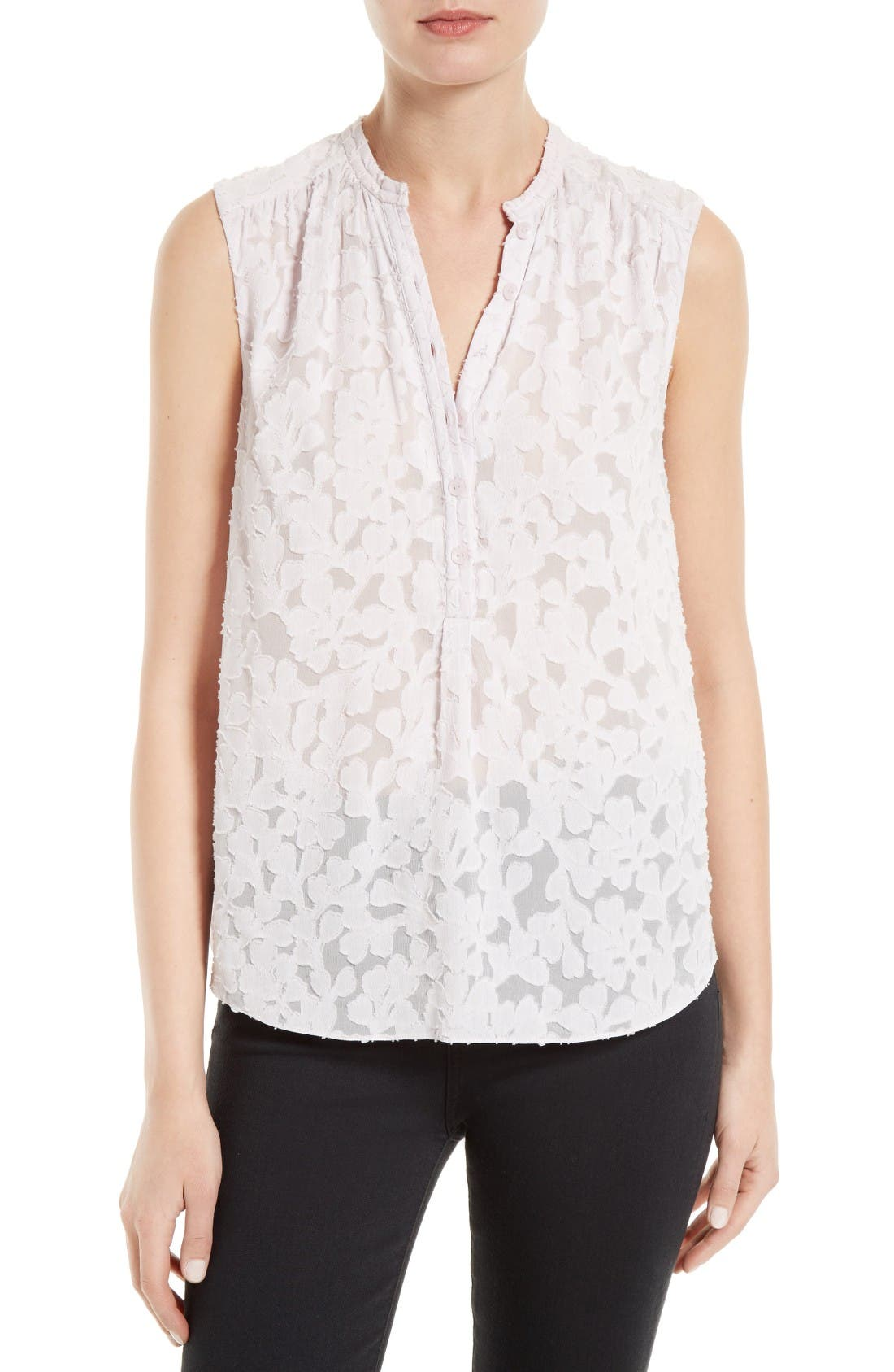 Alternate Image 1 Selected - Rebecca Taylor Ivy Vine Clipped Jacquard Top