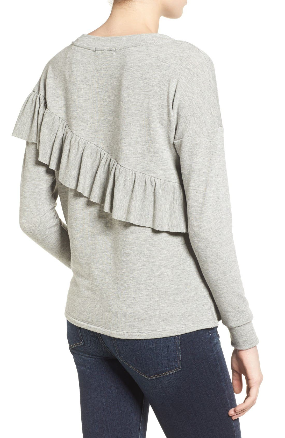 Alternate Image 3  - Pleione French Terry Ruffle Sweatshirt (Regular & Petite)