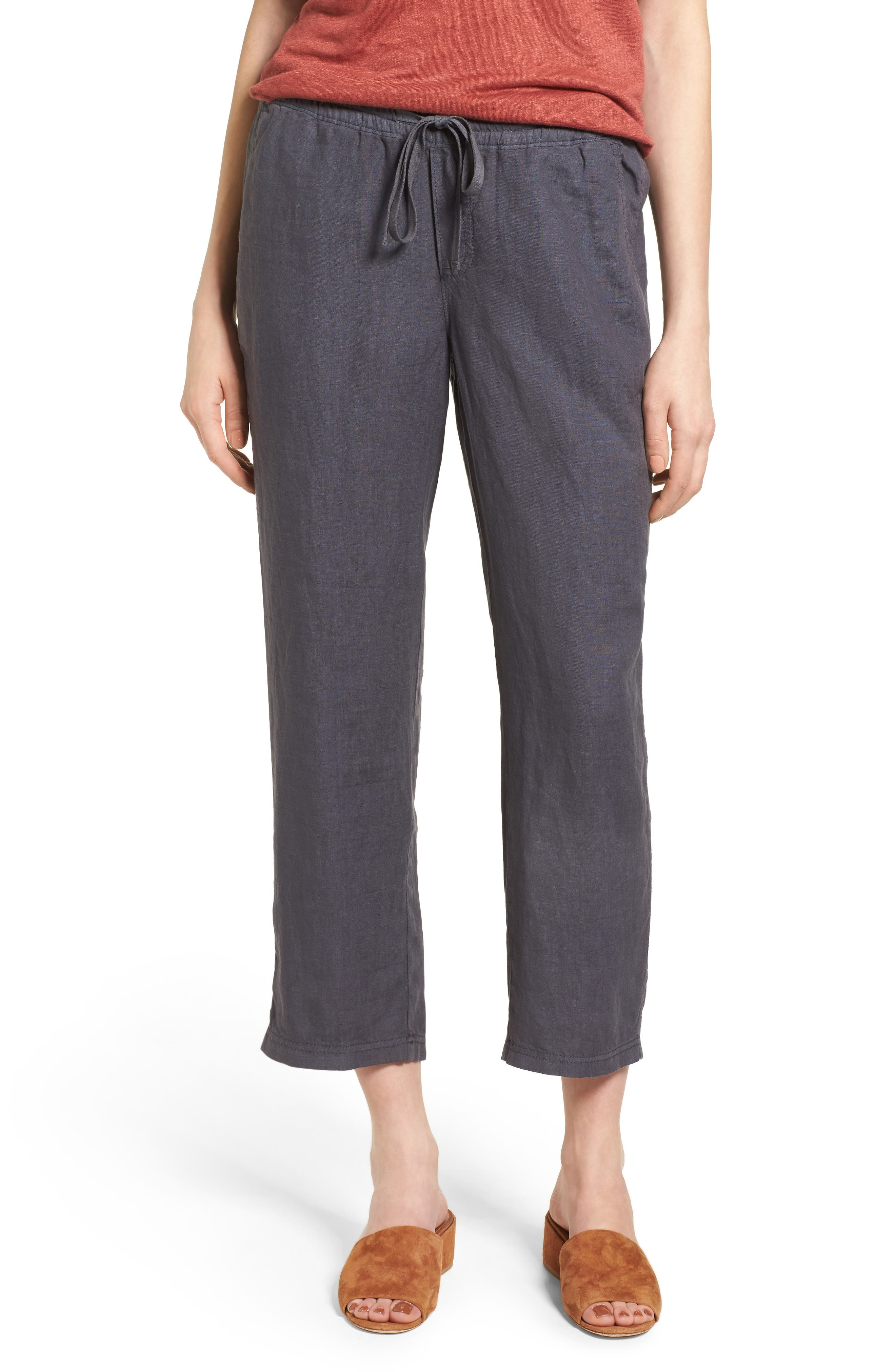 Caslon® Linen Crop Pants (Regular & Petite)